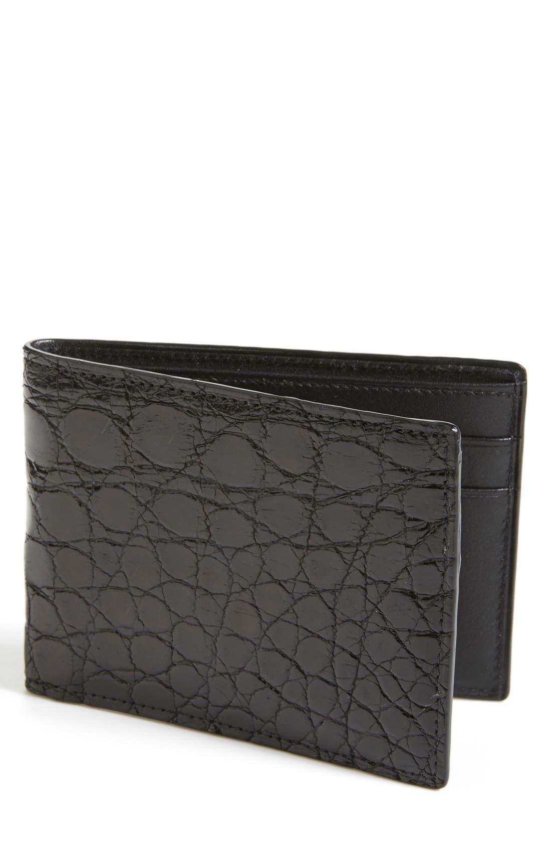 Crocodile Slimfold Wallet,                             Main thumbnail 1, color,                             BLACK