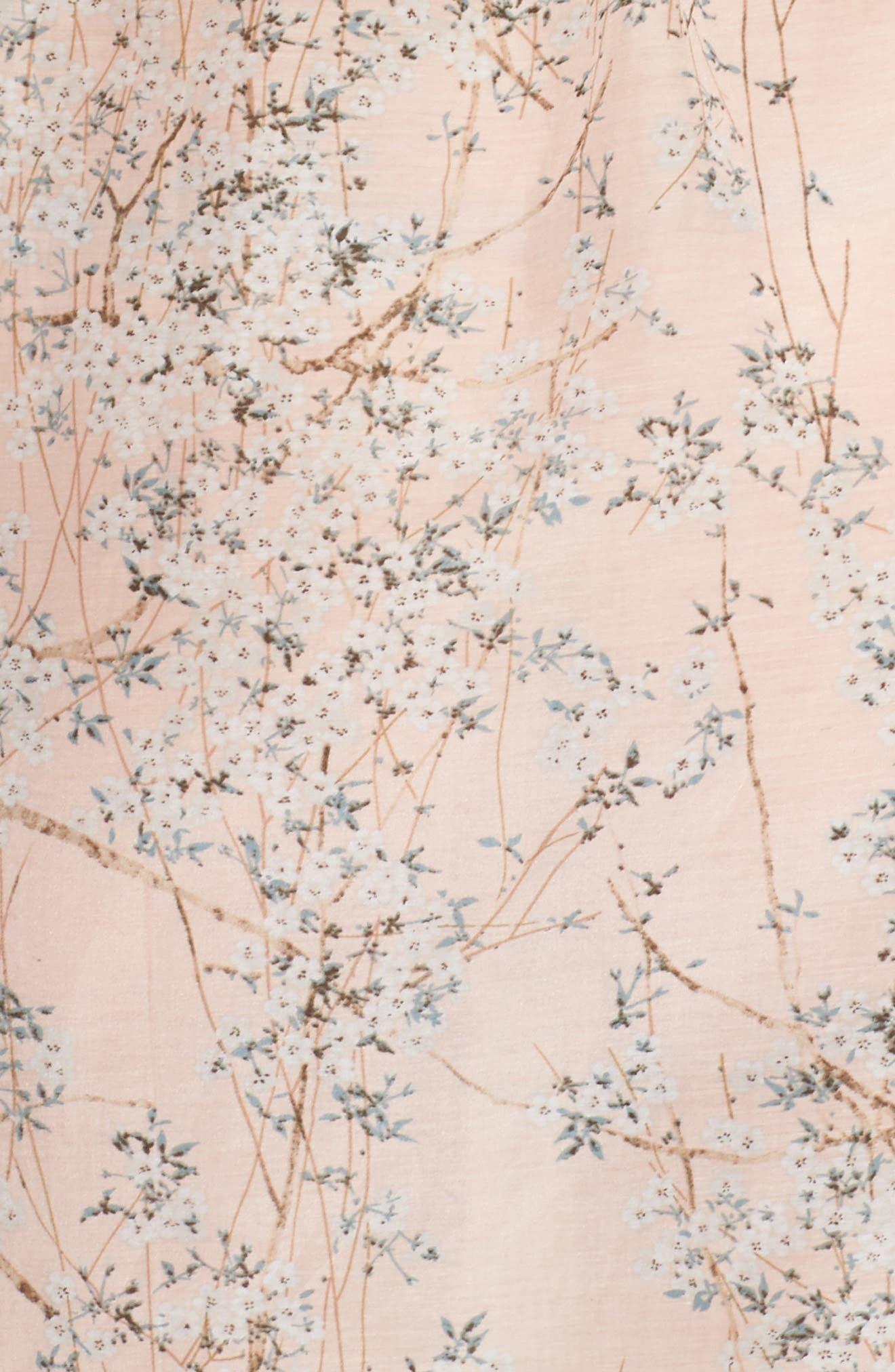 PAPINELLE,                             Cherry Blossom Cotton & Silk Short Robe,                             Alternate thumbnail 5, color,                             950