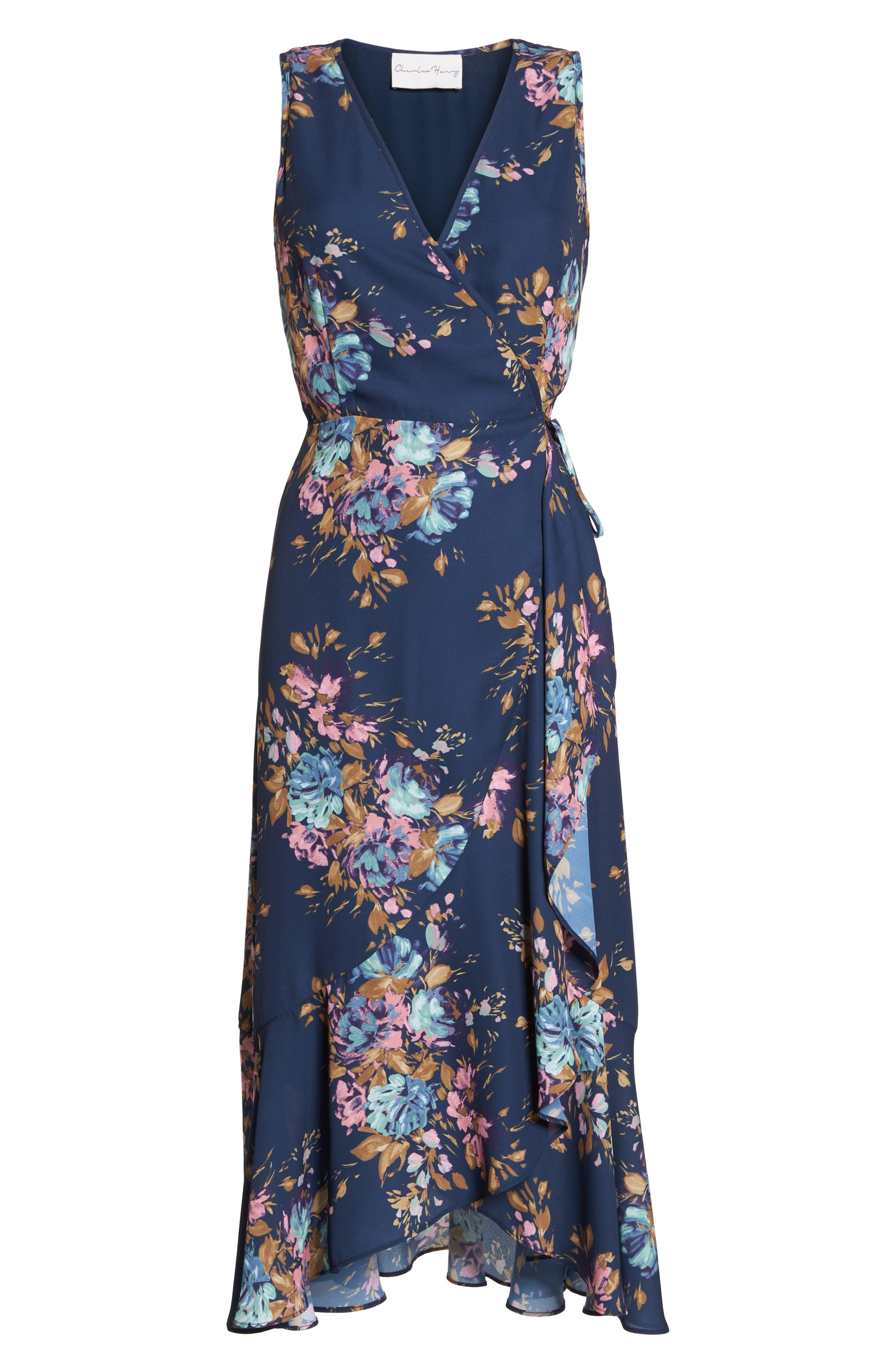 Floral Sleeveless Wrap Dress,                             Alternate thumbnail 7, color,                             473