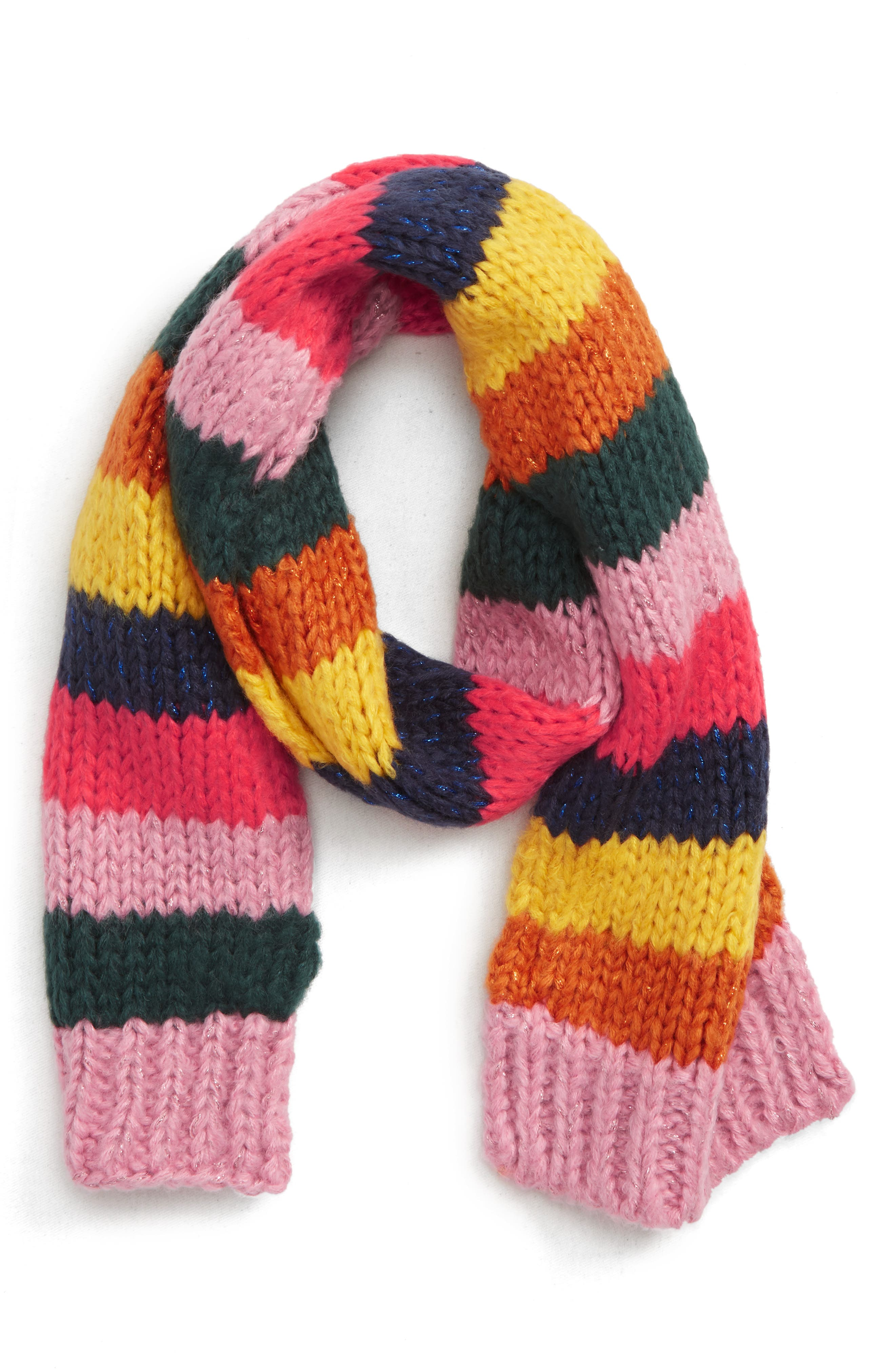 MINI BODEN Rainbow Knit Scarf, Main, color, 600