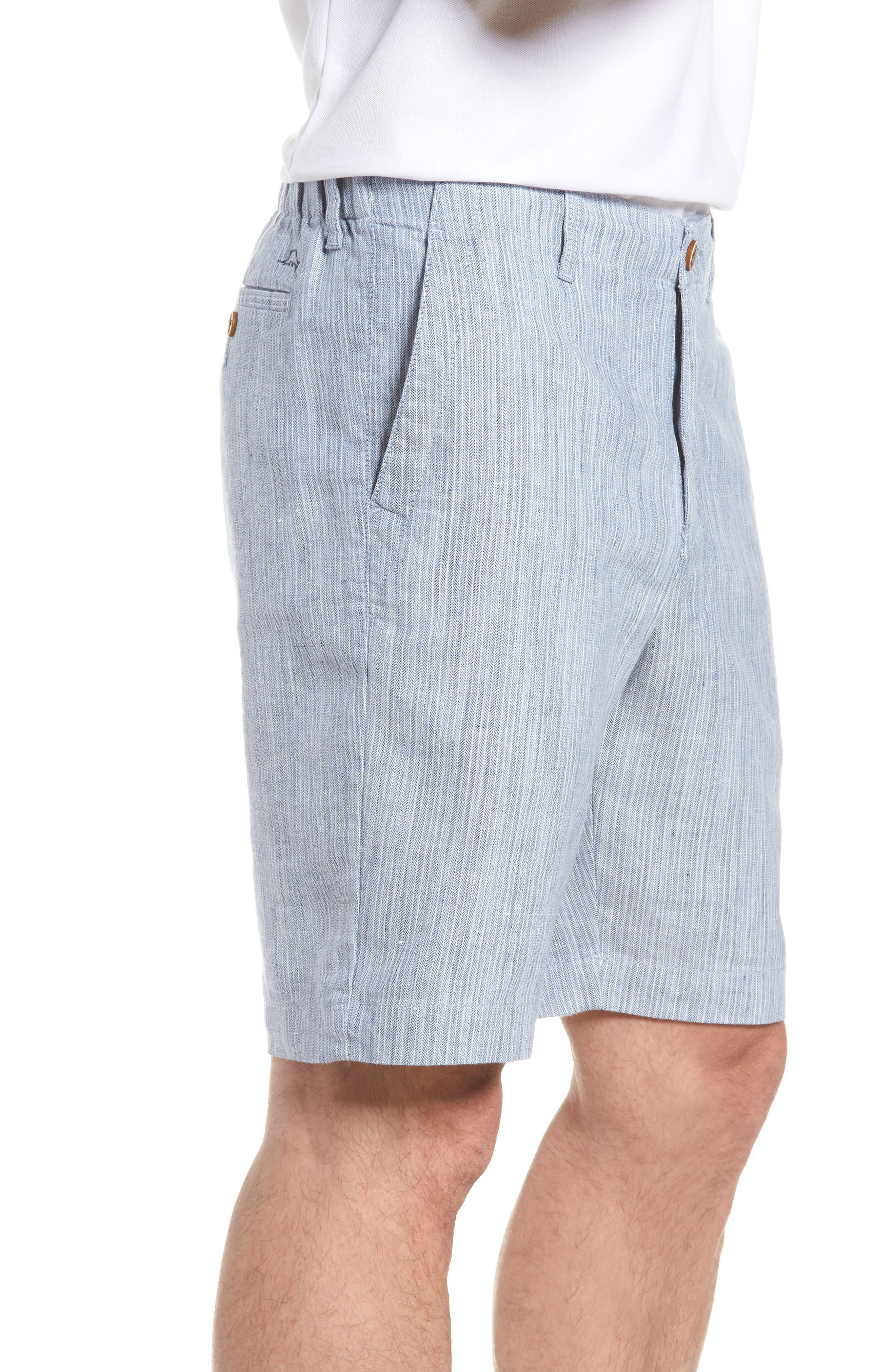 Harbor Herringbone Linen Blend Shorts,                             Alternate thumbnail 3, color,                             CHAMBRAY