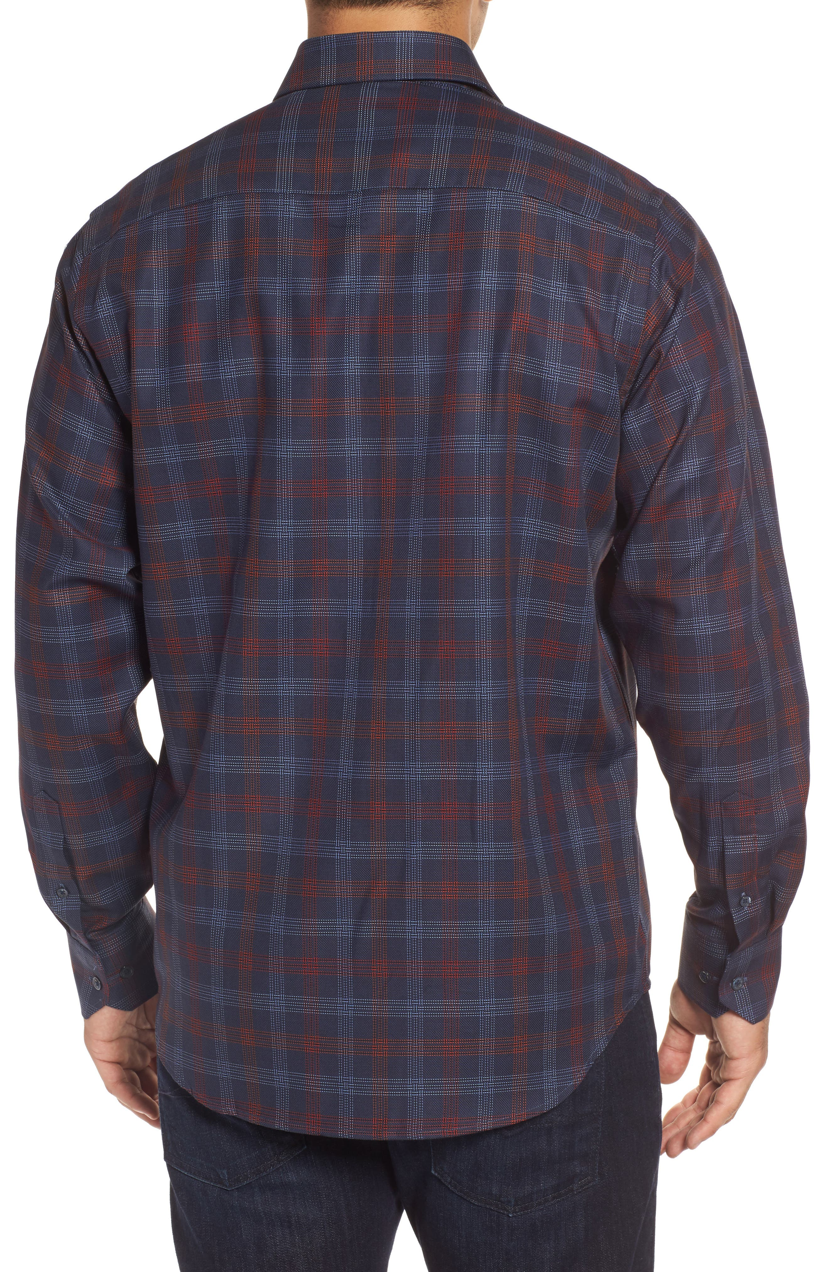 Classic Fit Pinstripe Check Sport Shirt,                             Alternate thumbnail 2, color,