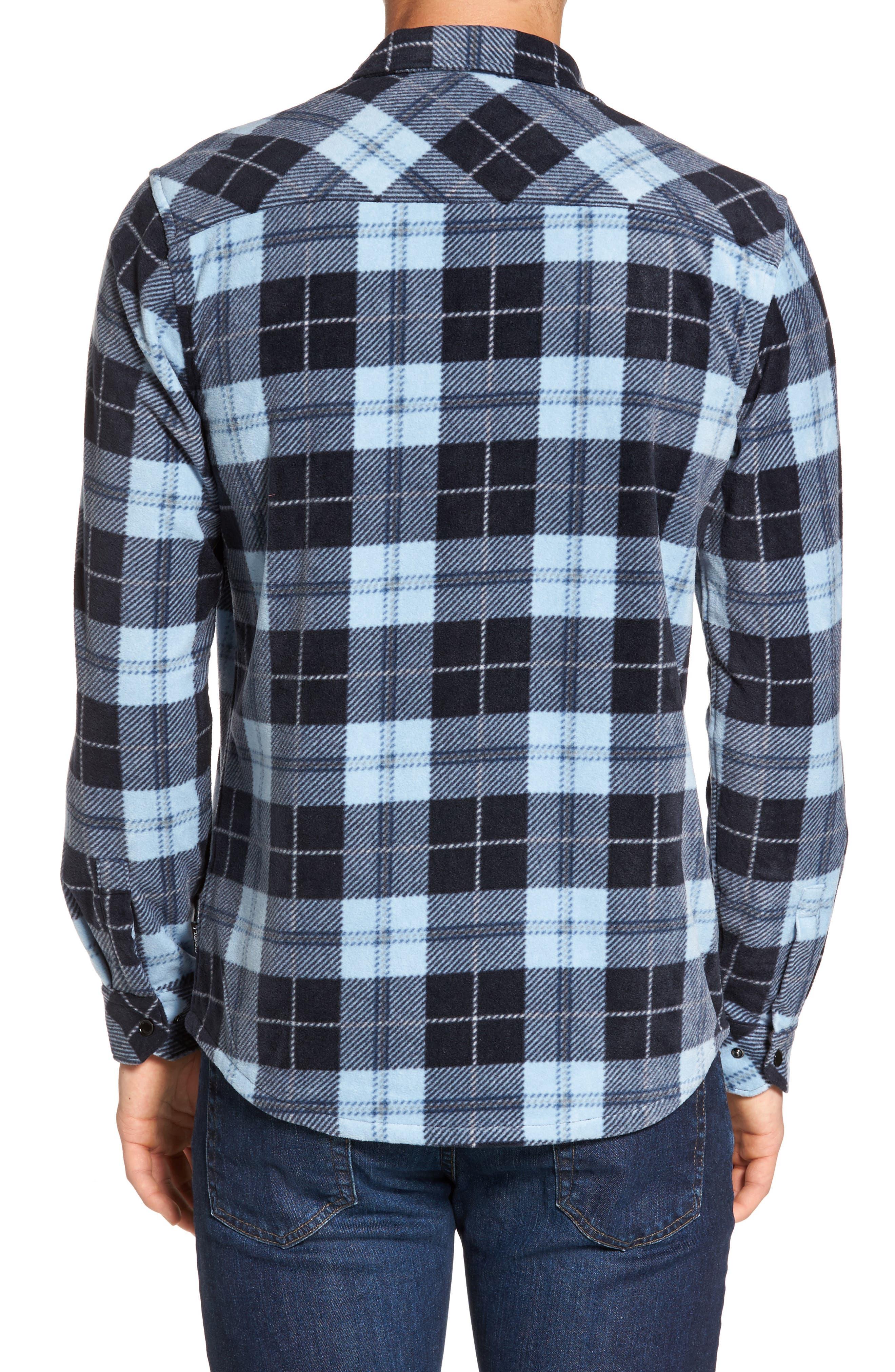 Glacier Plaid Fleece Flannel Shirt,                             Alternate thumbnail 10, color,
