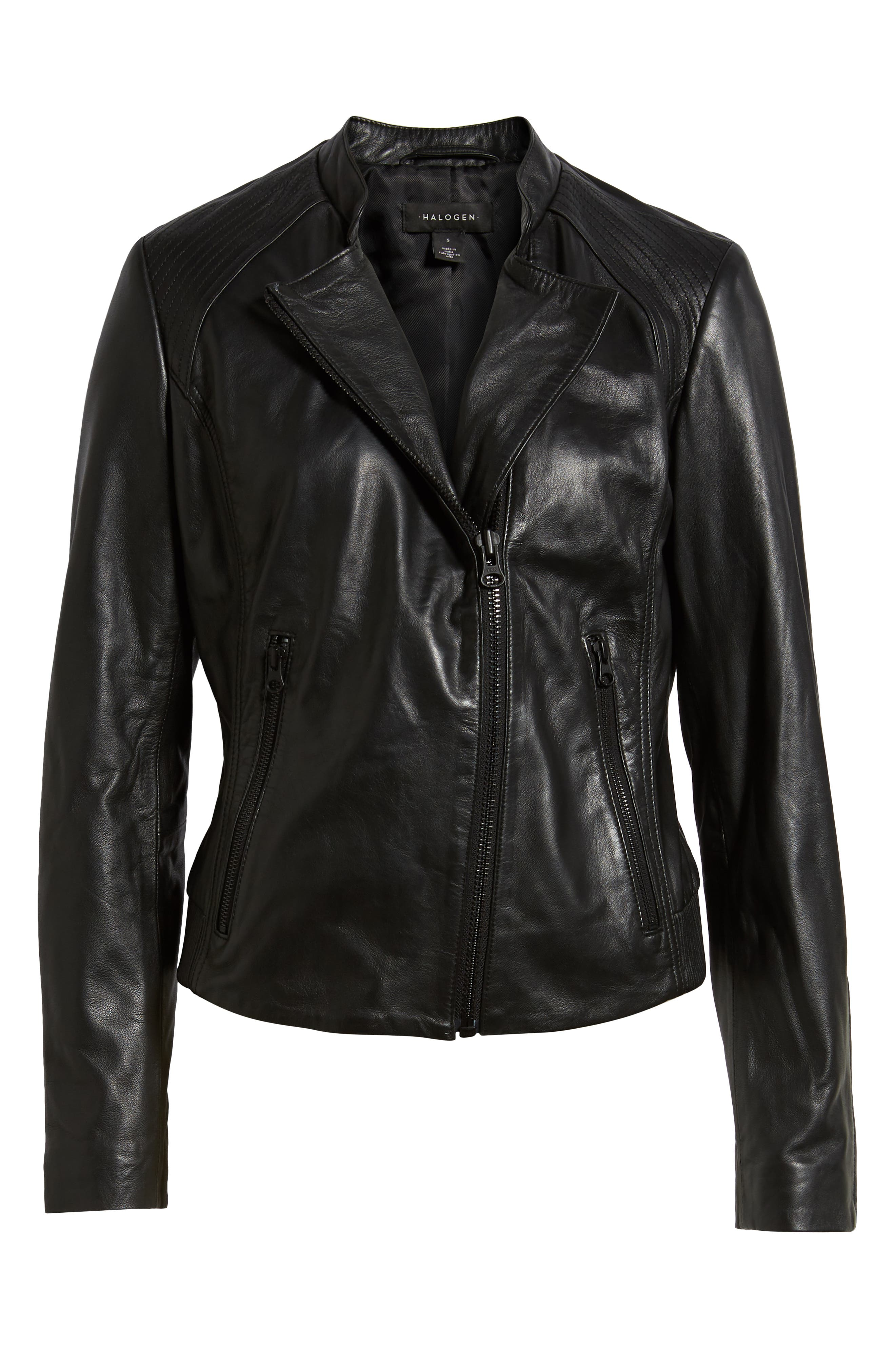 Zip Racer Leather Jacket,                             Alternate thumbnail 6, color,                             BLACK