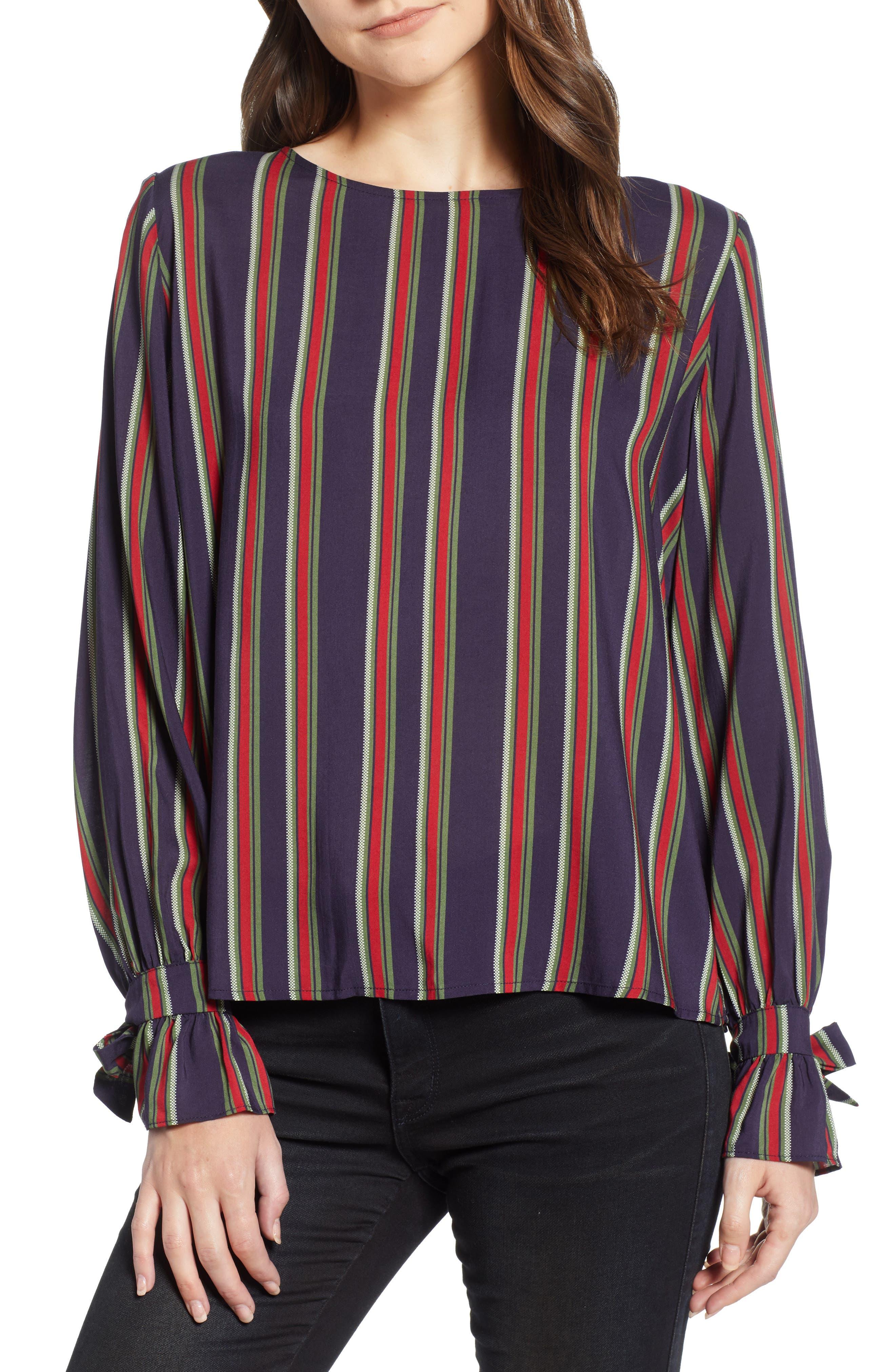 VELVET BY GRAHAM & SPENCER School Stripe Tie Sleeve Top, Main, color, 438