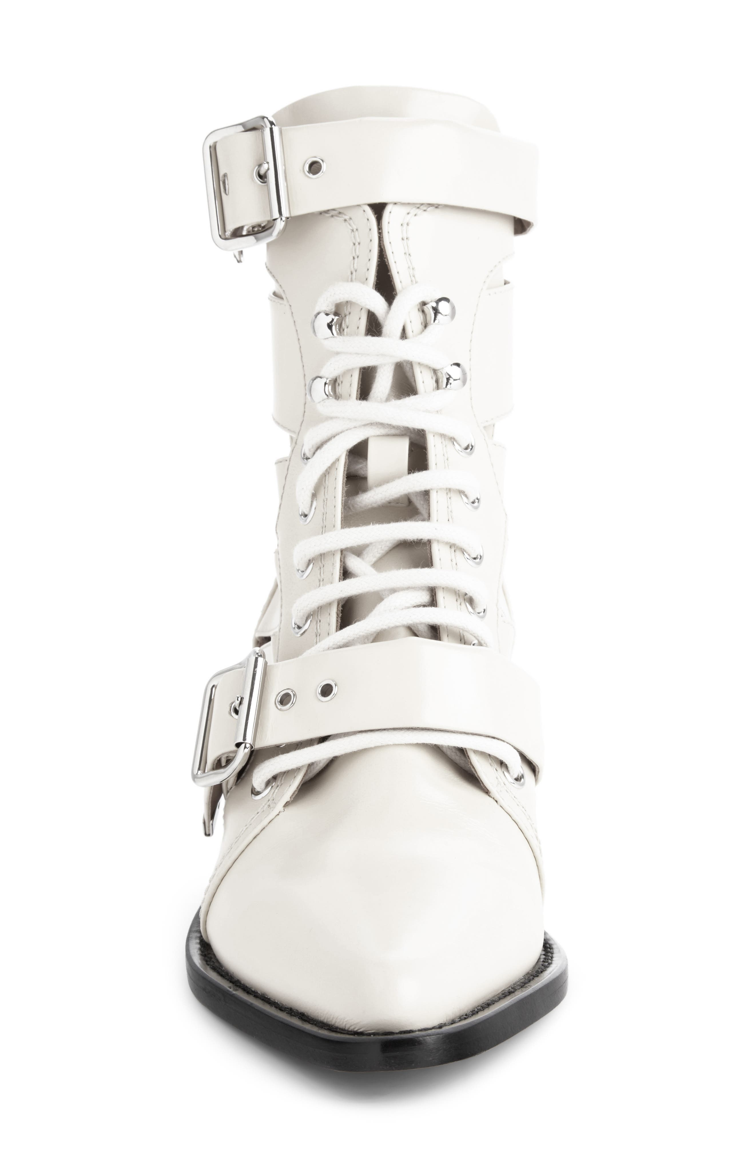 CHLOÉ,                             Rylee Caged Pointy Toe Boot,                             Alternate thumbnail 4, color,                             WHITE