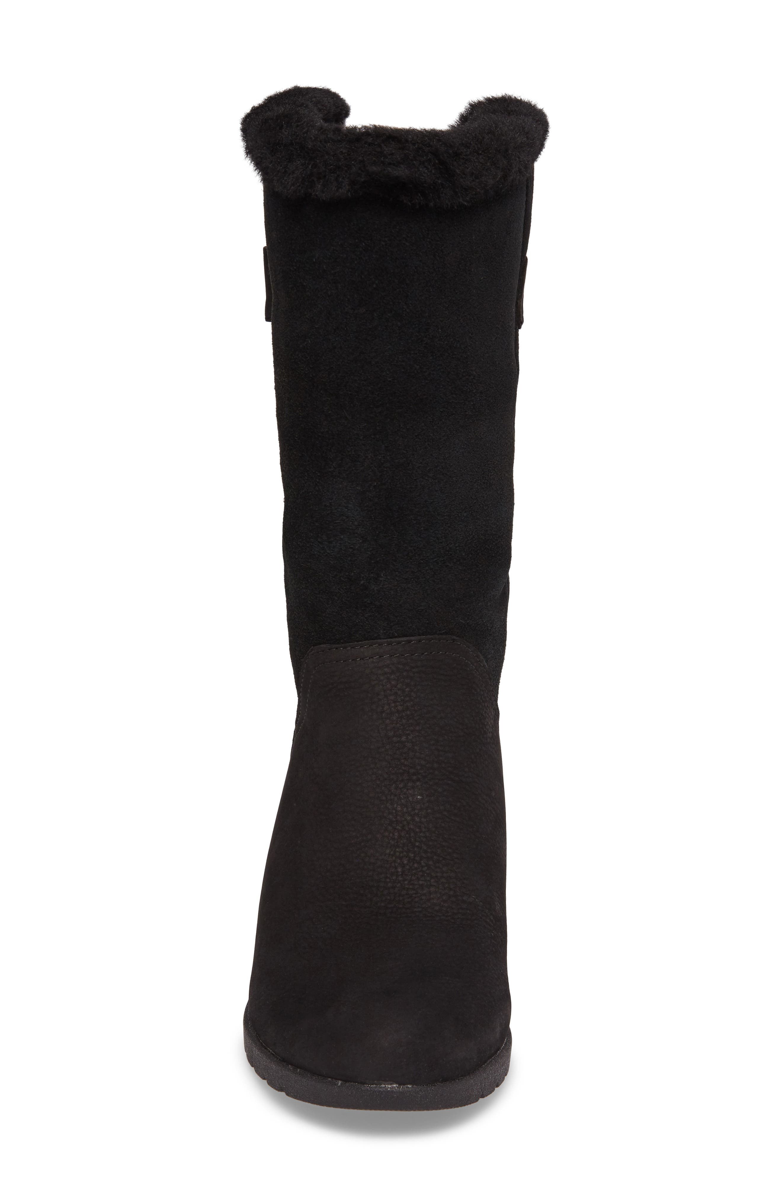 UGG<SUP>®</SUP>,                             Edelina Waterproof Wedge Boot,                             Alternate thumbnail 4, color,                             001