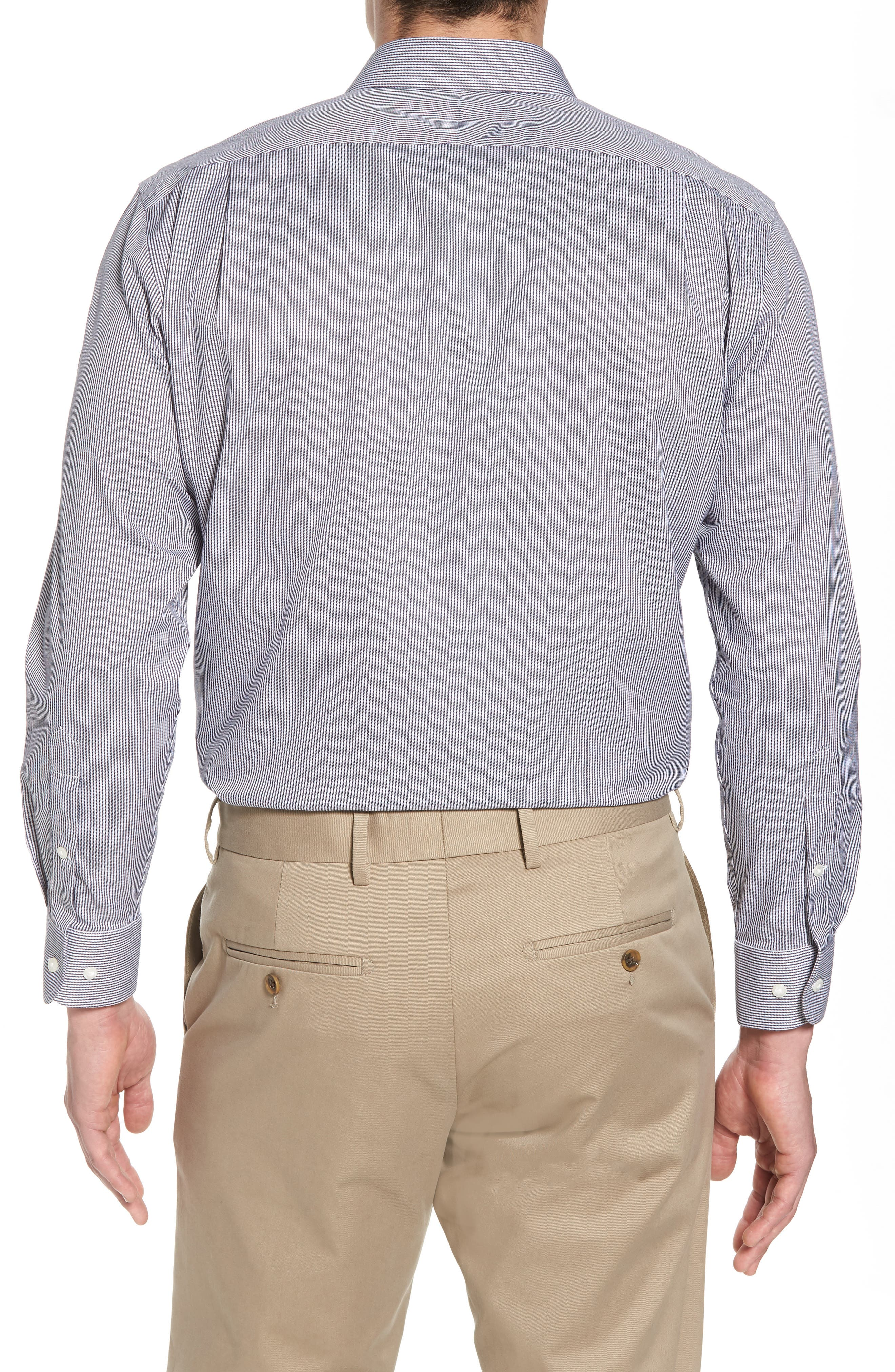 Smartcare<sup>™</sup> Trim Fit Stripe Dress Shirt,                             Alternate thumbnail 3, color,                             001