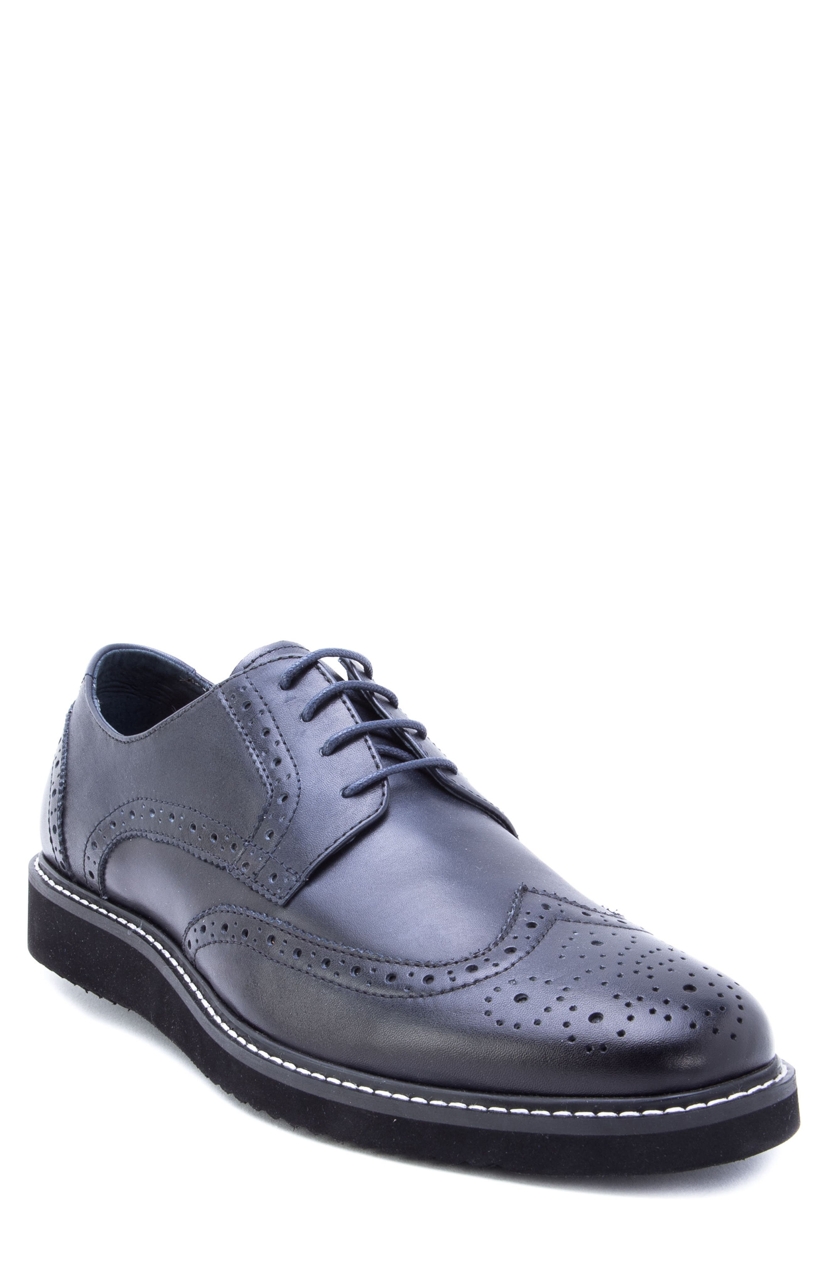 Siena Wingtip Derby,                             Main thumbnail 1, color,                             NAVY LEATHER
