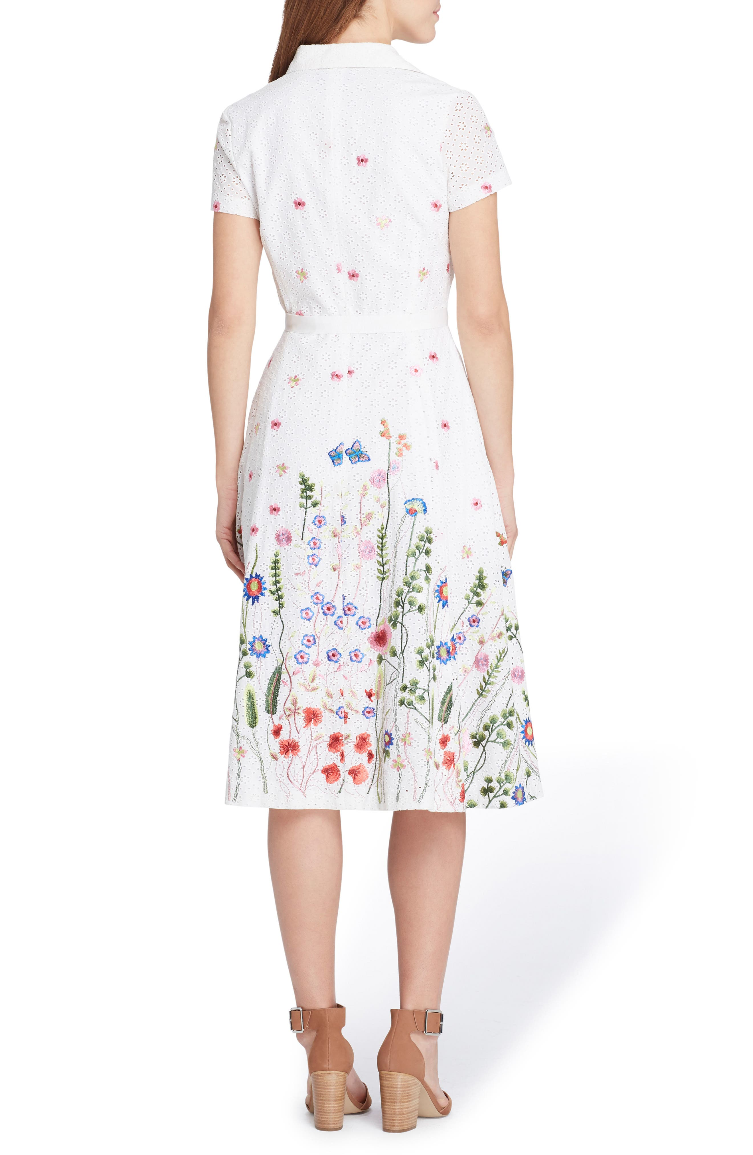 Floral Embroidered Eyelet Shirtdress,                             Alternate thumbnail 2, color,