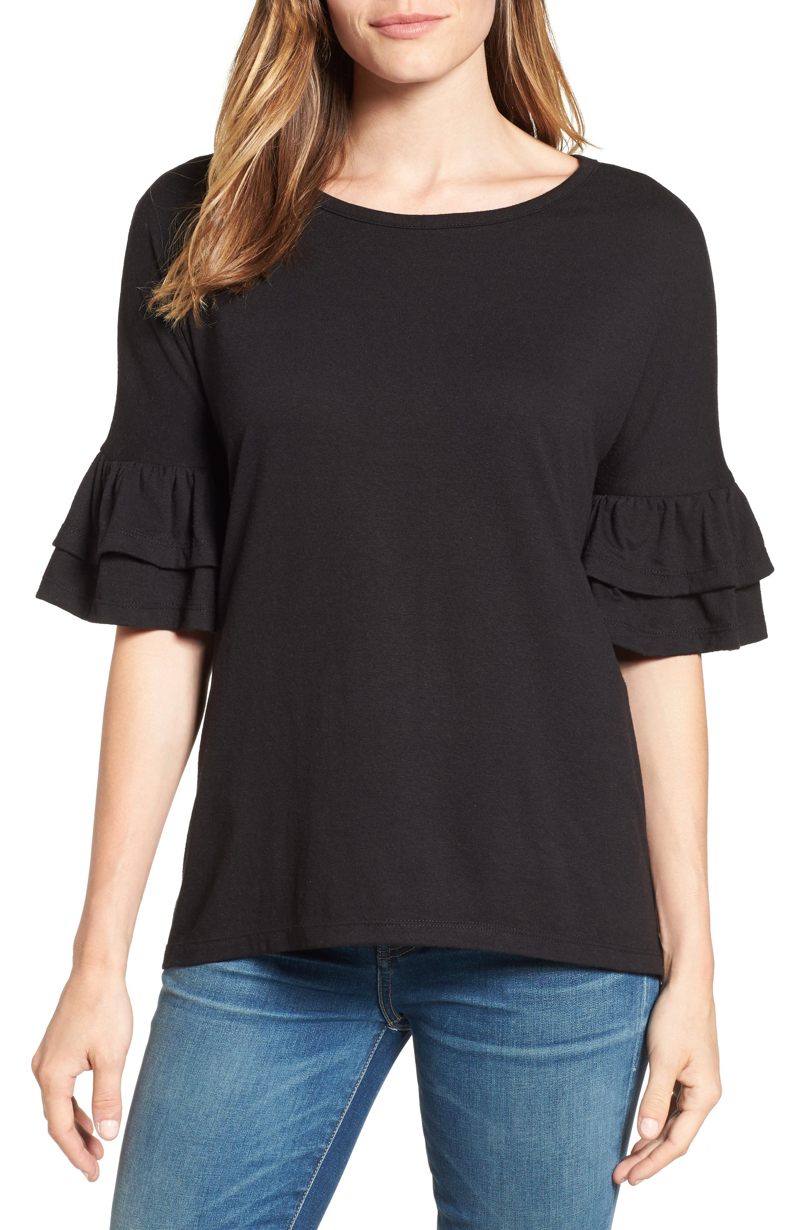 Tiered Bell Sleeve Tee,                             Main thumbnail 2, color,