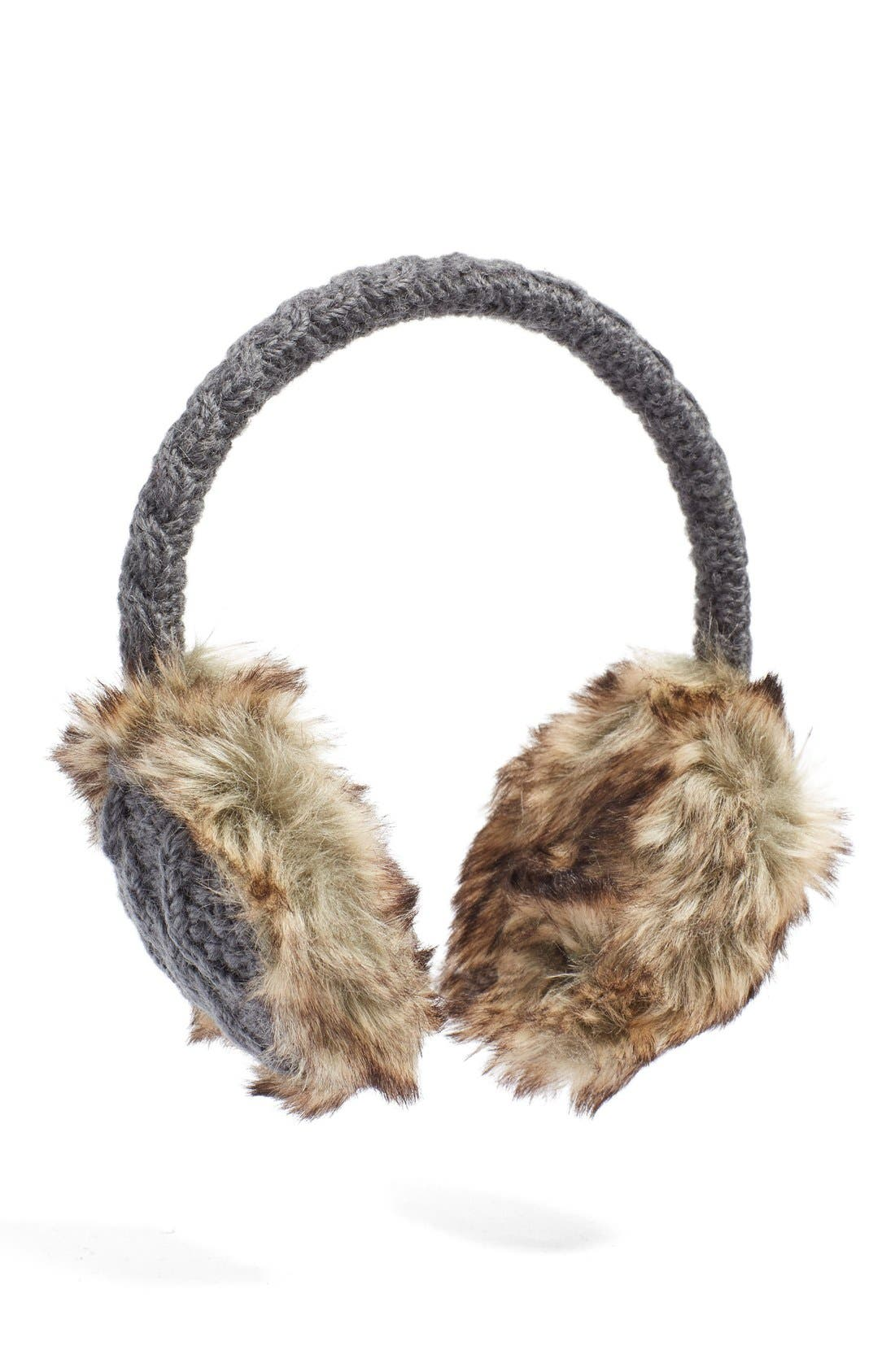 Cable Knit Earmuffs,                         Main,                         color, DARK GREY