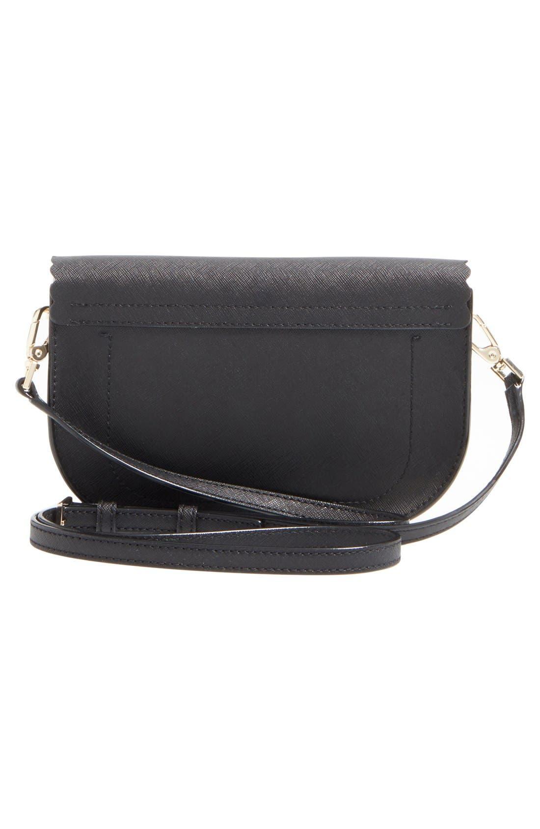 'cape drive - jettie' scalloped leather crossbody bag,                             Alternate thumbnail 5, color,                             001