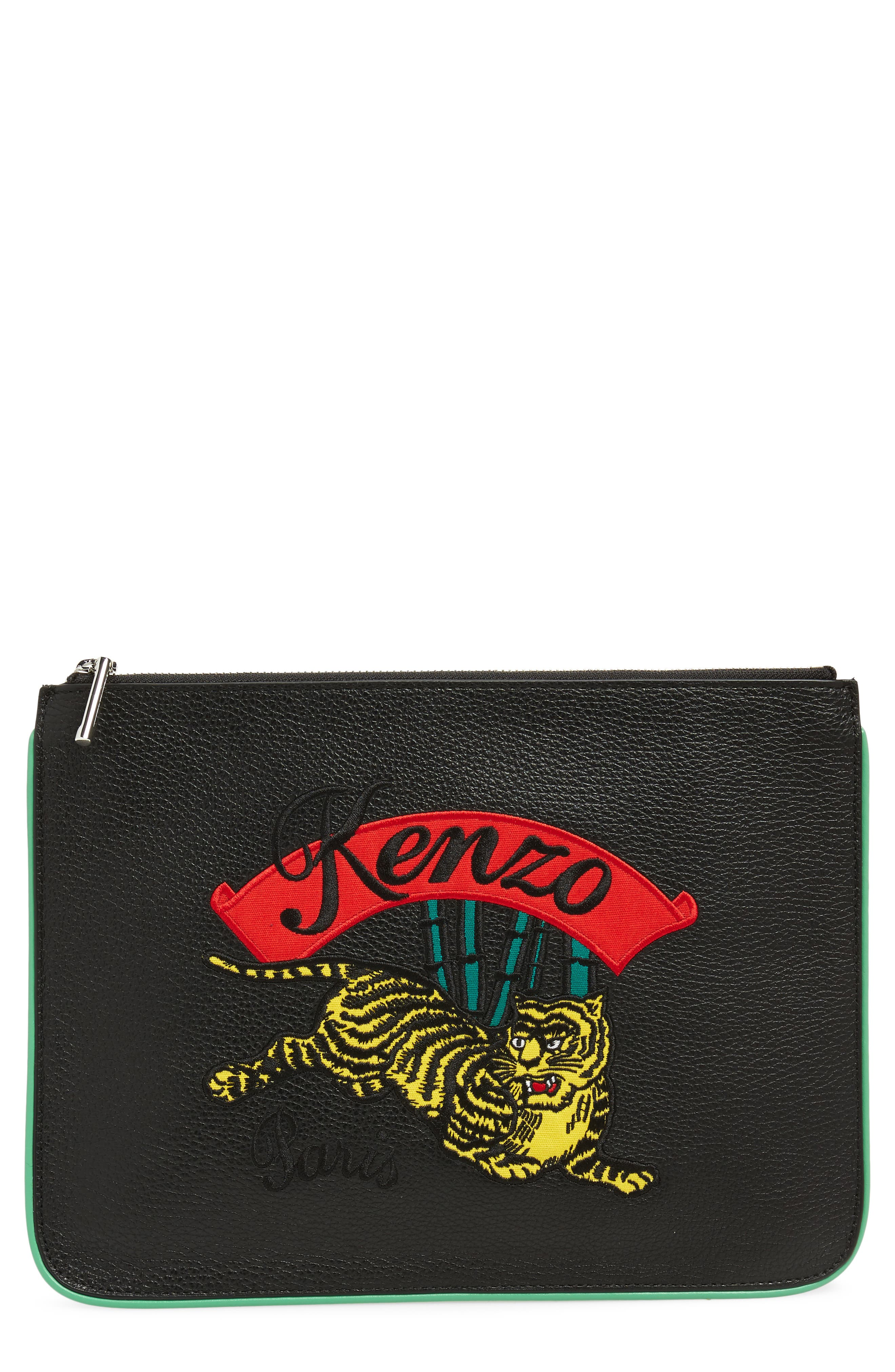 Leaping Tiger Leather A4 Pouch,                             Main thumbnail 1, color,                             BLACK