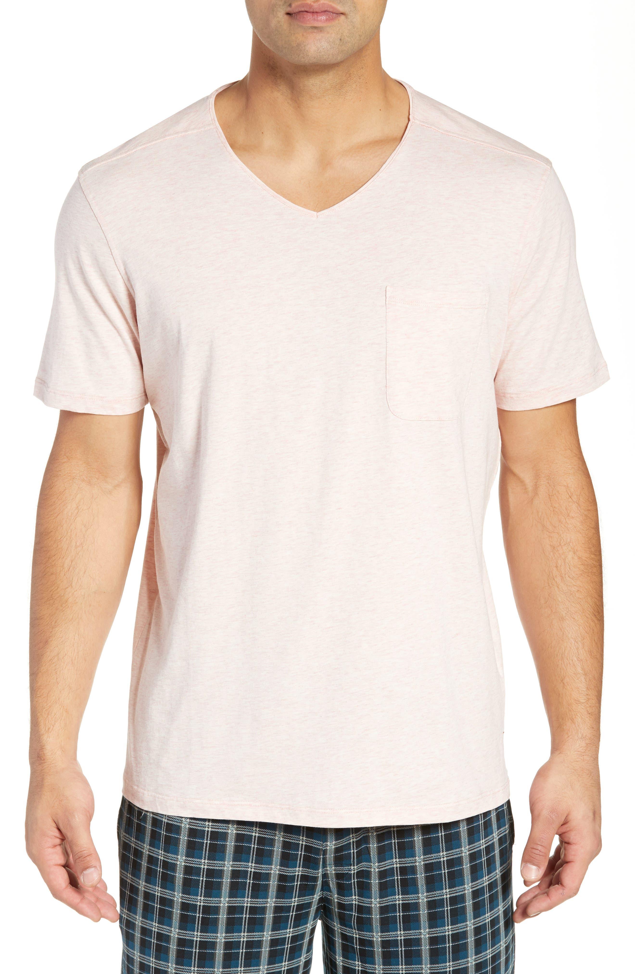 DANIEL BUCHLER V-Neck Cotton & Modal T-Shirt in Poppy