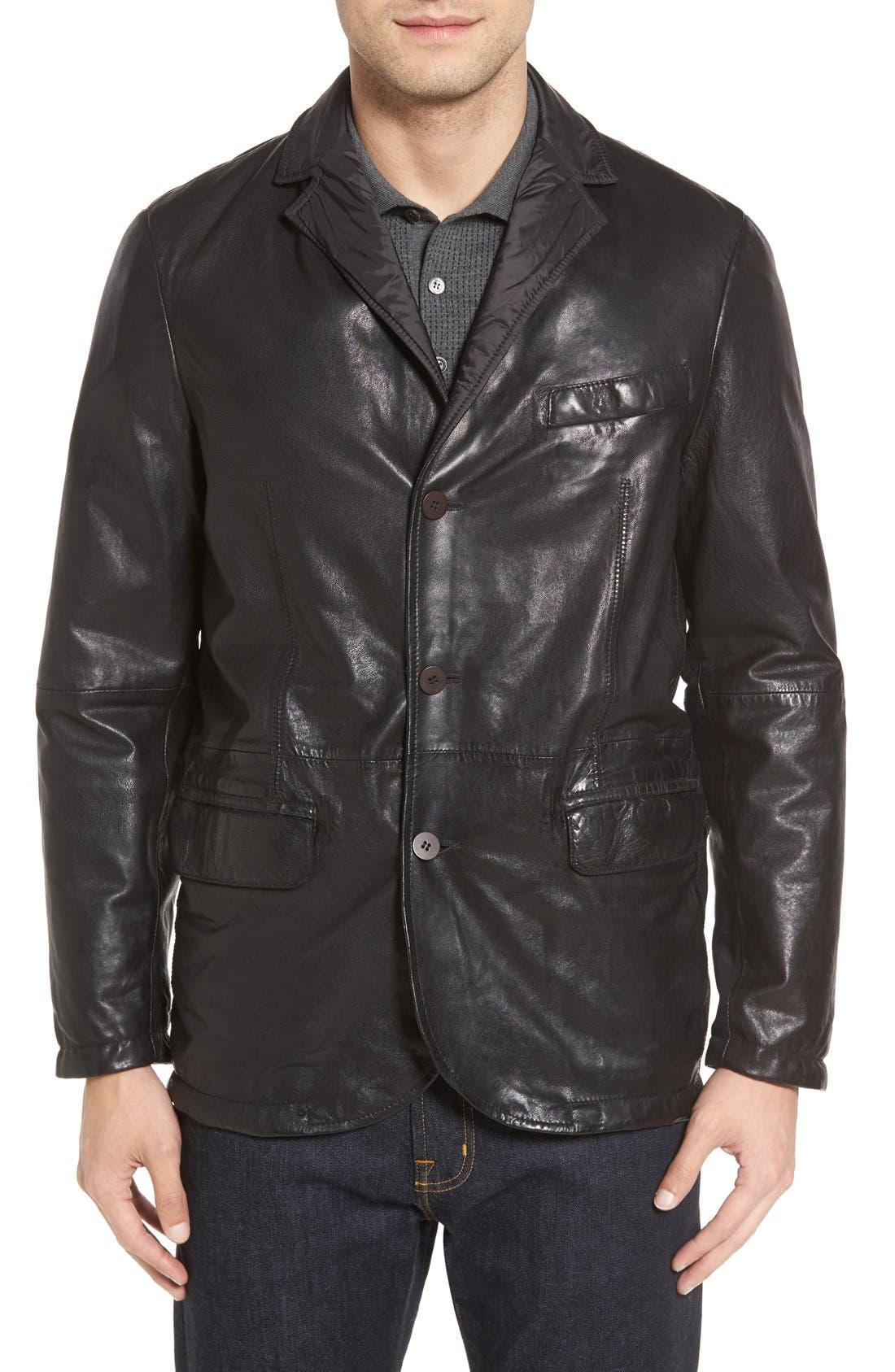 Reversible Leather & Nylon Sport Coat,                             Main thumbnail 1, color,                             001