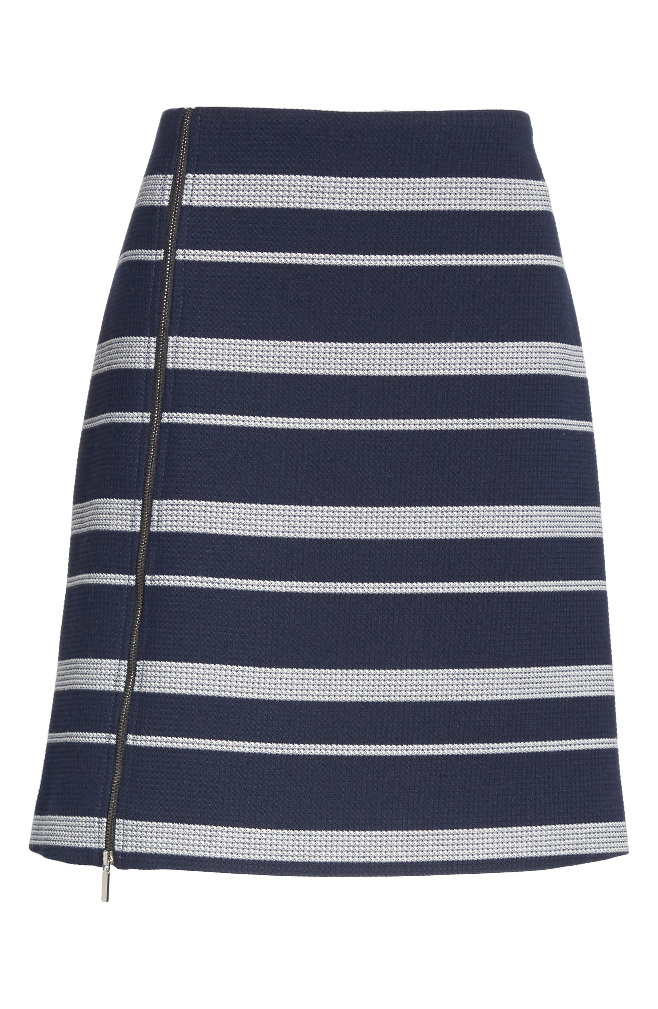 Stripe Jacquard Skirt,                             Alternate thumbnail 6, color,                             NAVY FANTASY