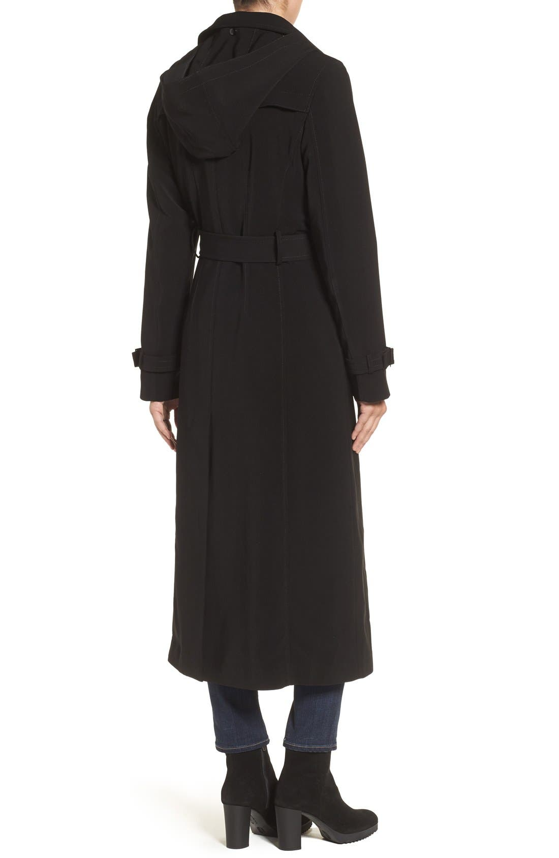 Full Length Hooded Nepage Raincoat,                             Alternate thumbnail 3, color,                             BLACK