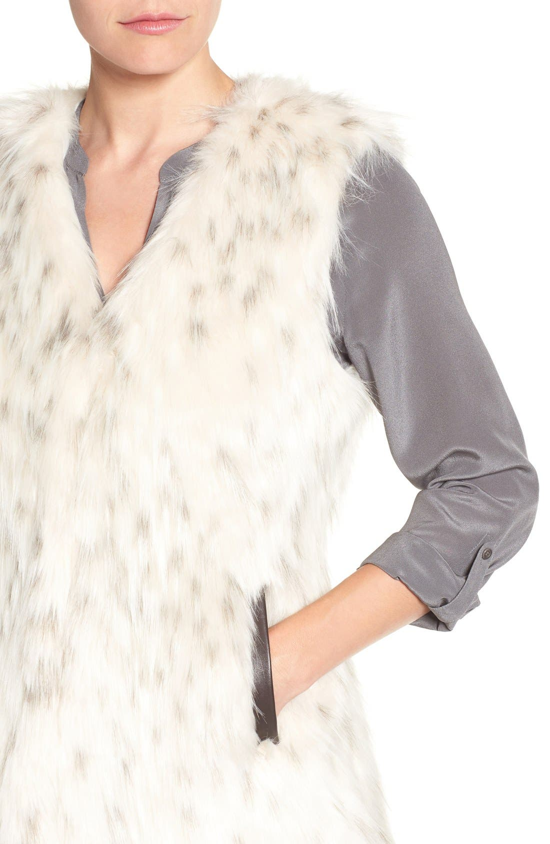 Collarless Faux Fur Vest,                             Alternate thumbnail 4, color,