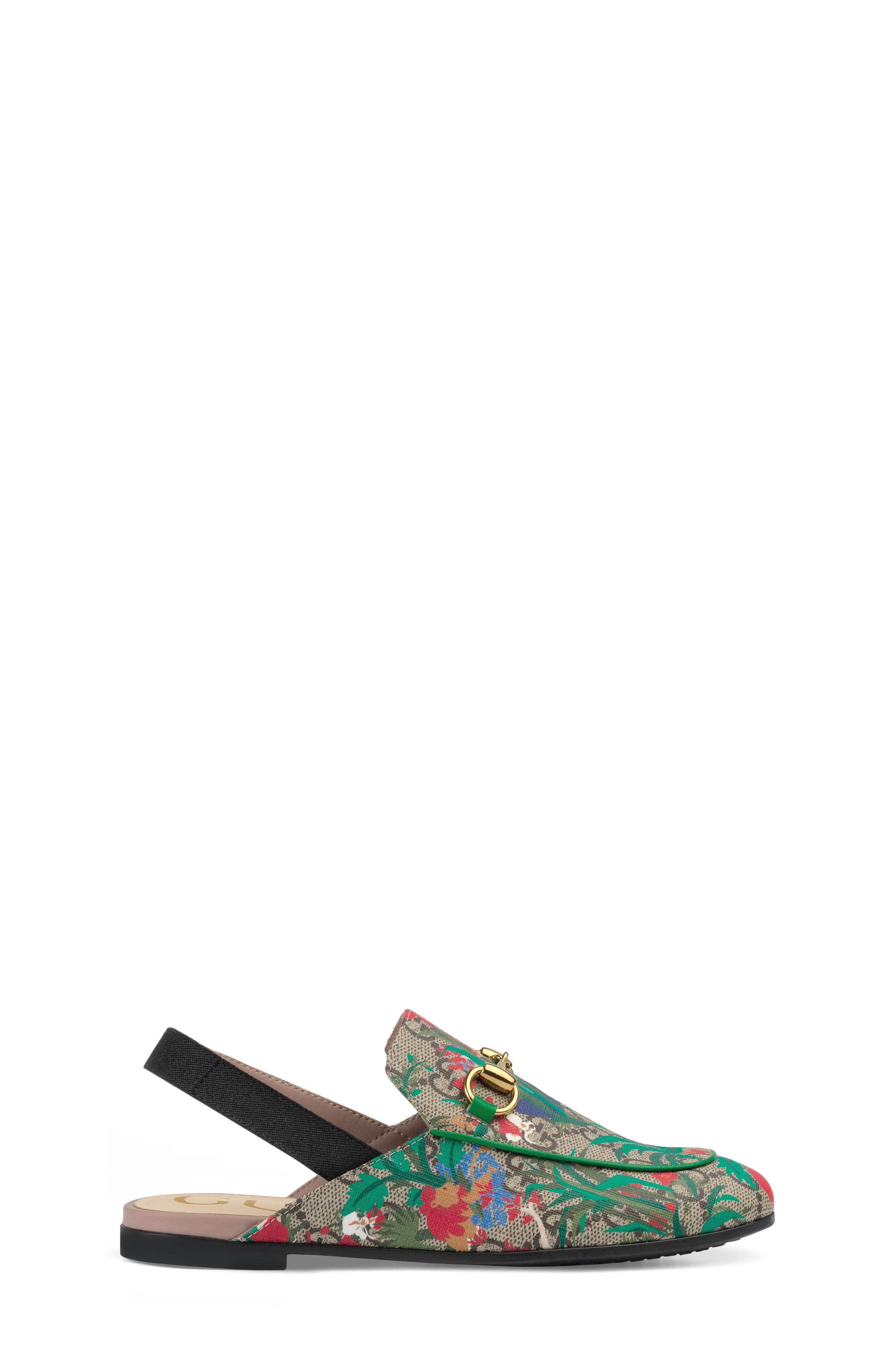Princetown Slingback Loafer Mule,                             Alternate thumbnail 3, color,                             BEIGE EBONY MULTI
