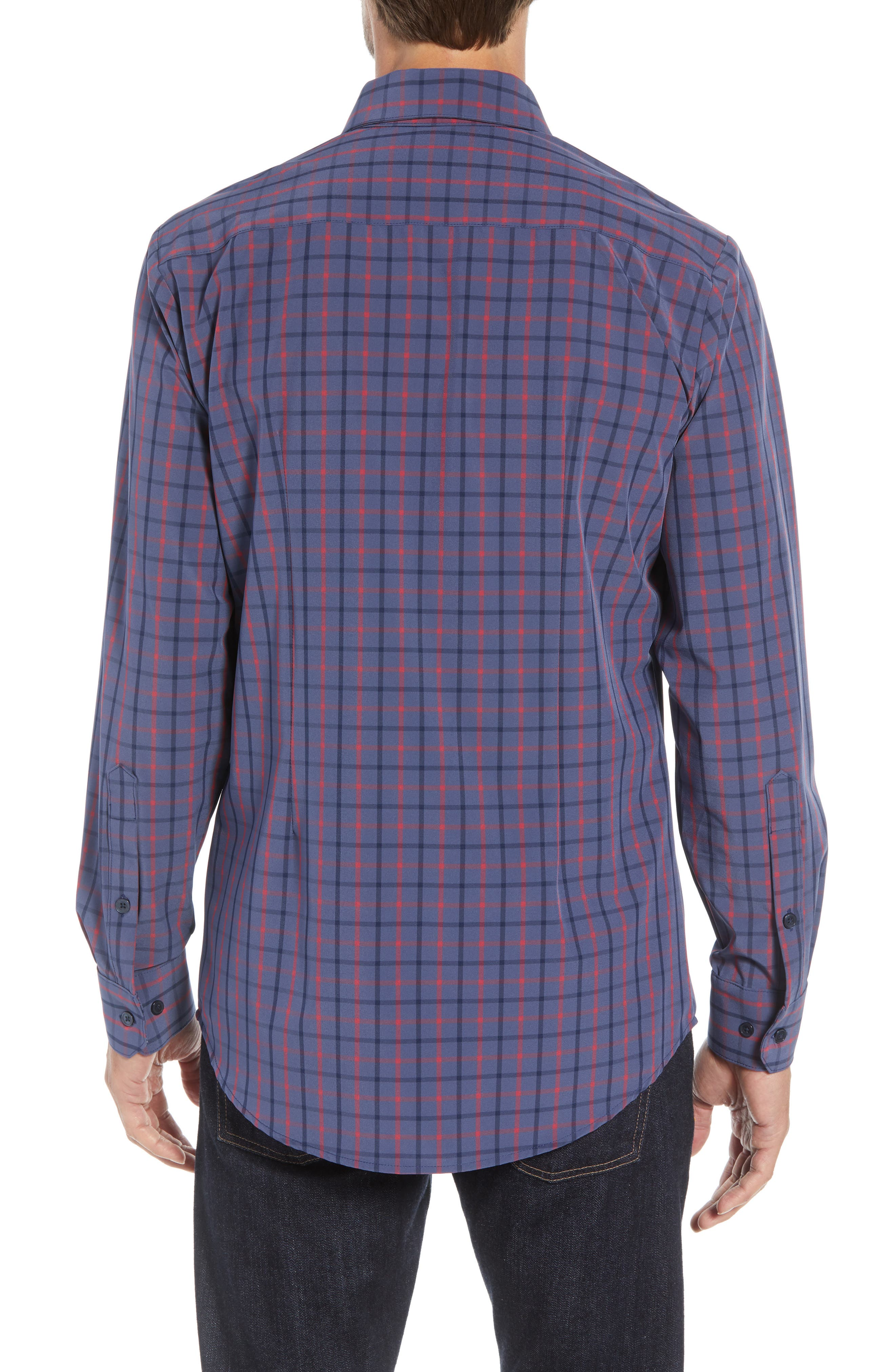 Wilson Slim Fit Plaid Performance Sport Shirt,                             Alternate thumbnail 3, color,                             BLUE