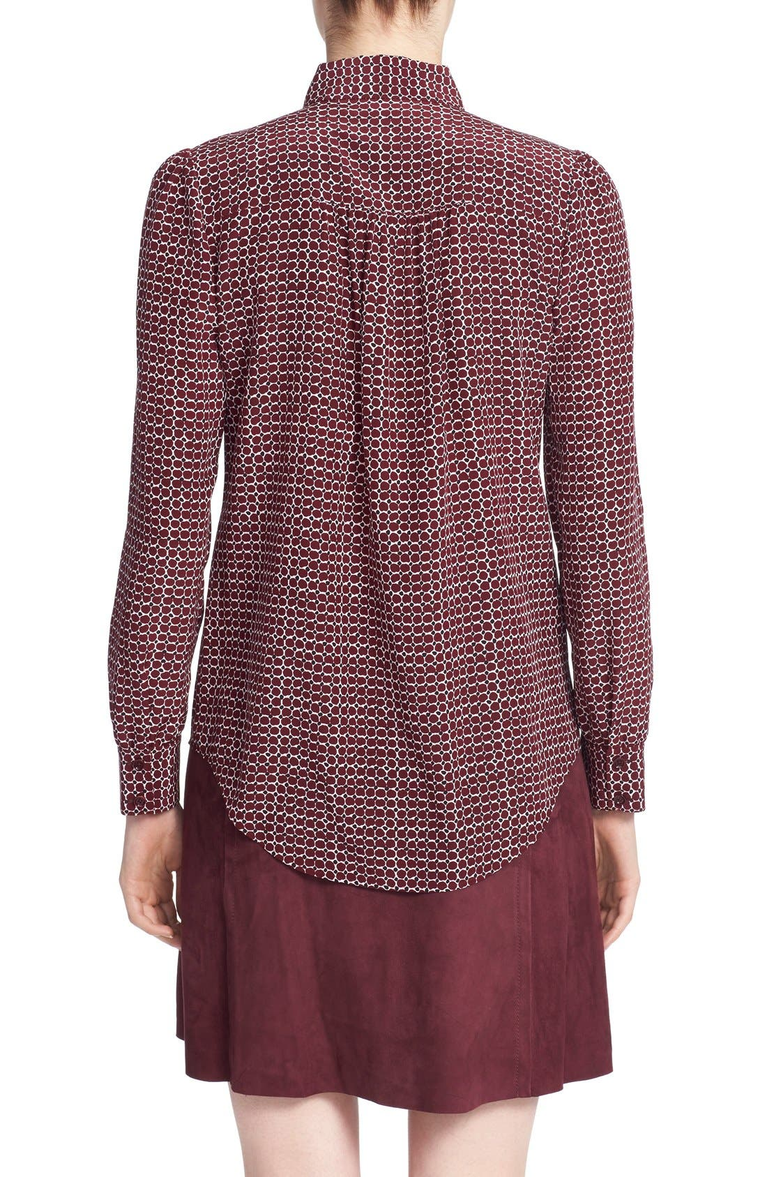 'parker dot' print silk bow blouse,                             Alternate thumbnail 4, color,                             619