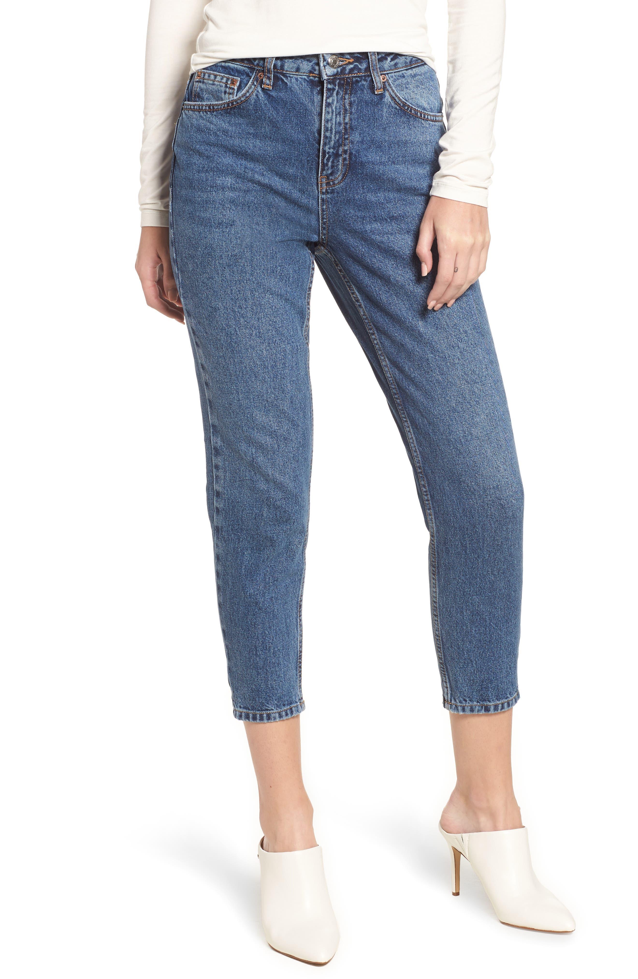 Petite Mid Denim Mom Jeans,                             Main thumbnail 1, color,                             MID DENIM