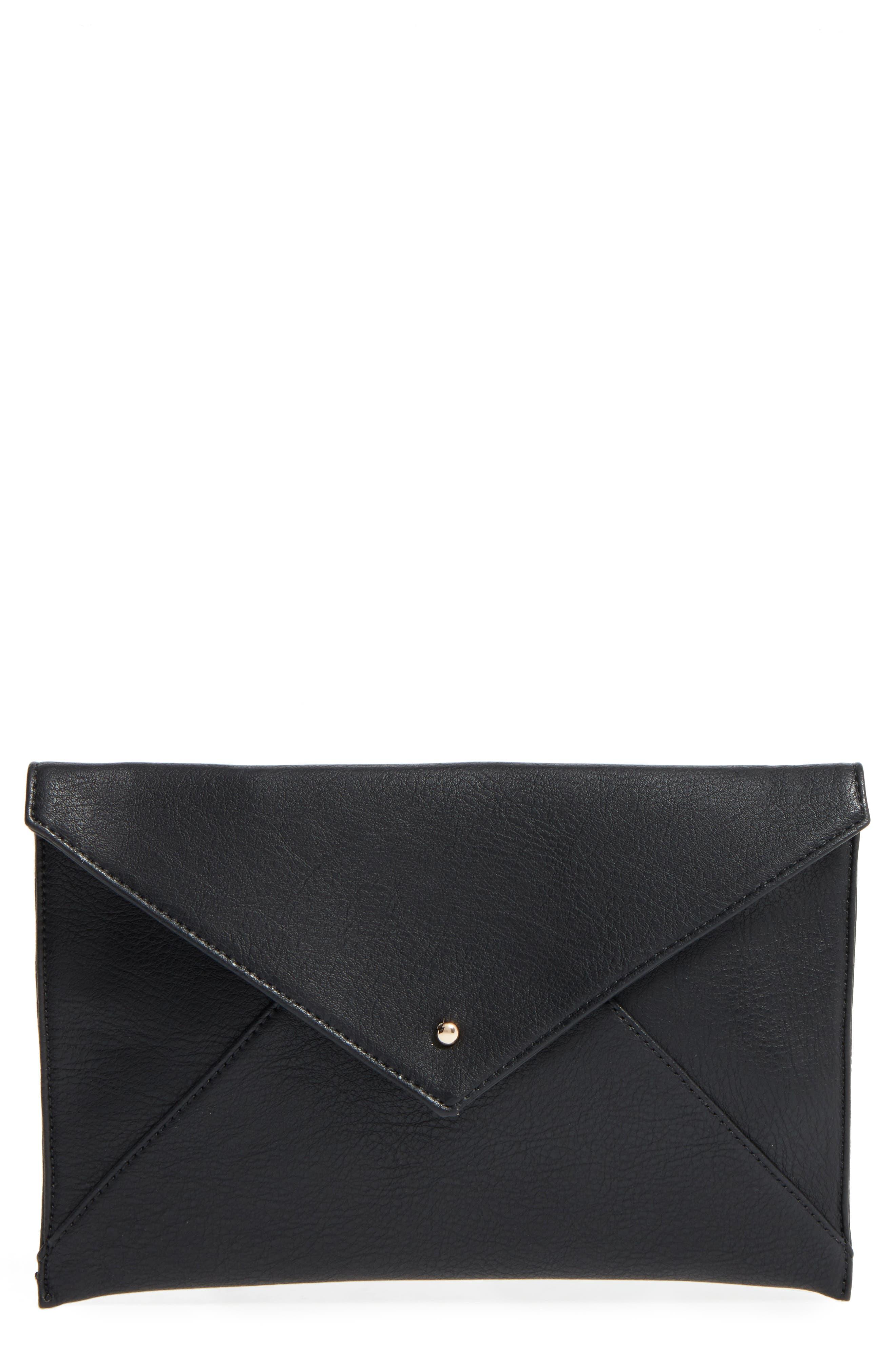Faux Leather Envelope Clutch, Main, color, 001