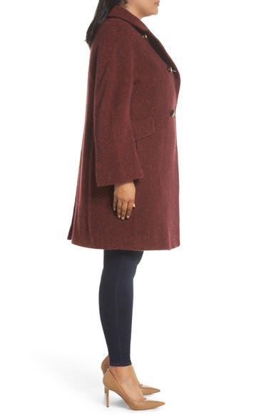 ab515afc23783 Fleurette Double Breasted Alpaca Blend Coat (Plus Size)