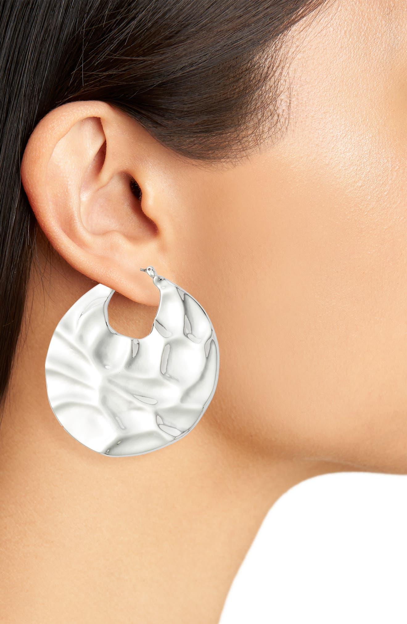 Molten Disc Hoop Earrings,                             Alternate thumbnail 2, color,                             RHODIUM