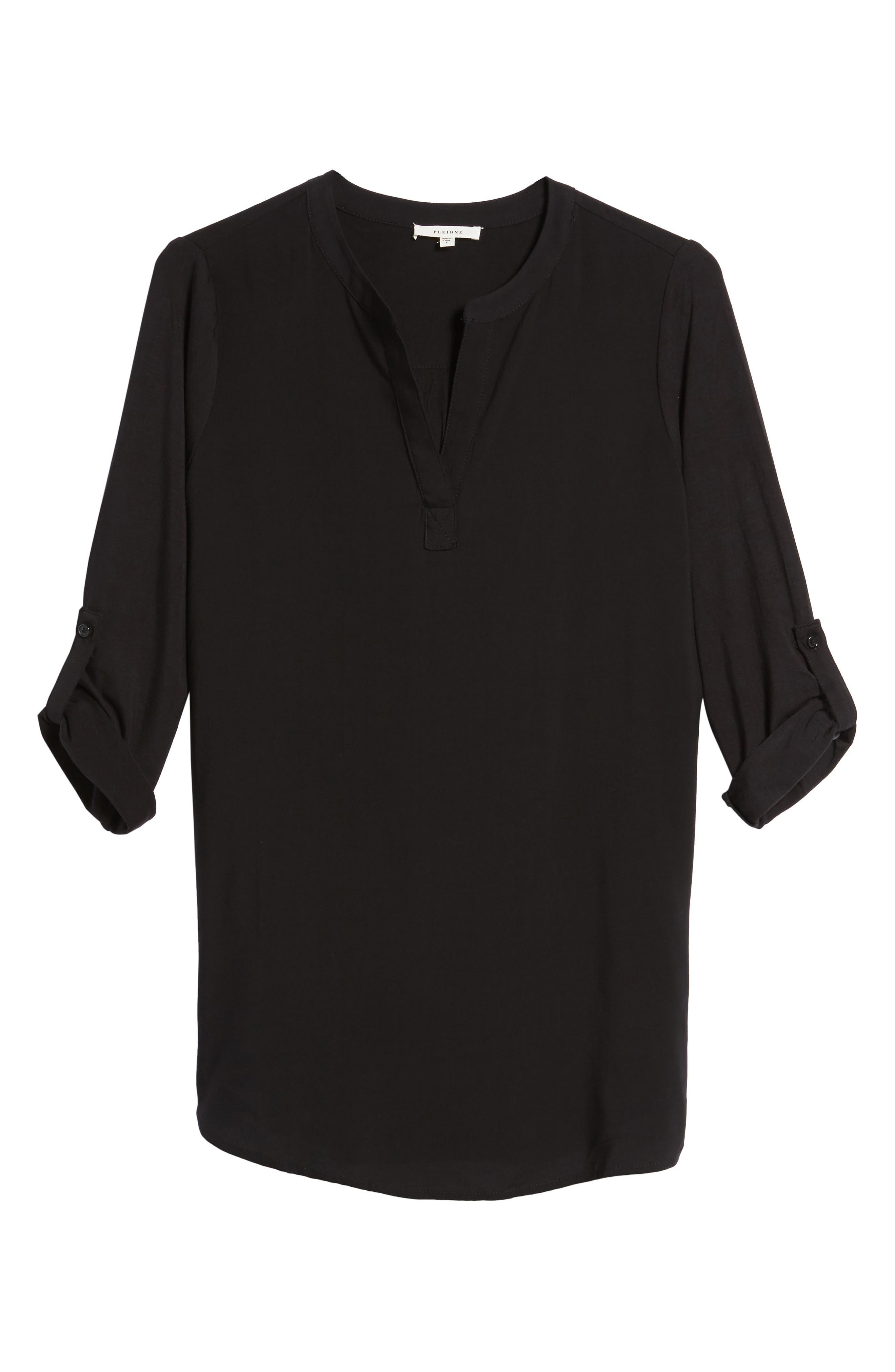 PLEIONE,                             Split Neck Roll Sleeve Tunic,                             Main thumbnail 1, color,                             001