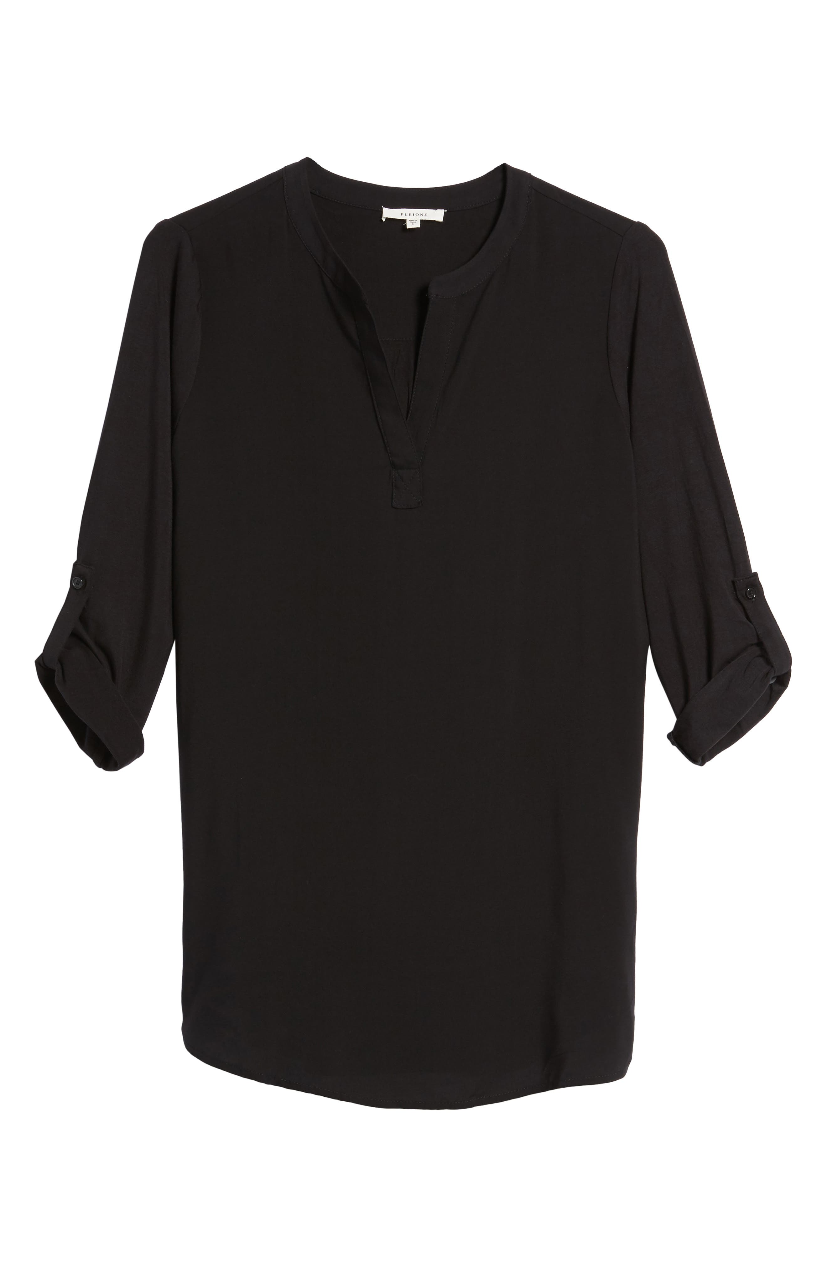PLEIONE Split Neck Roll Sleeve Tunic, Main, color, 001