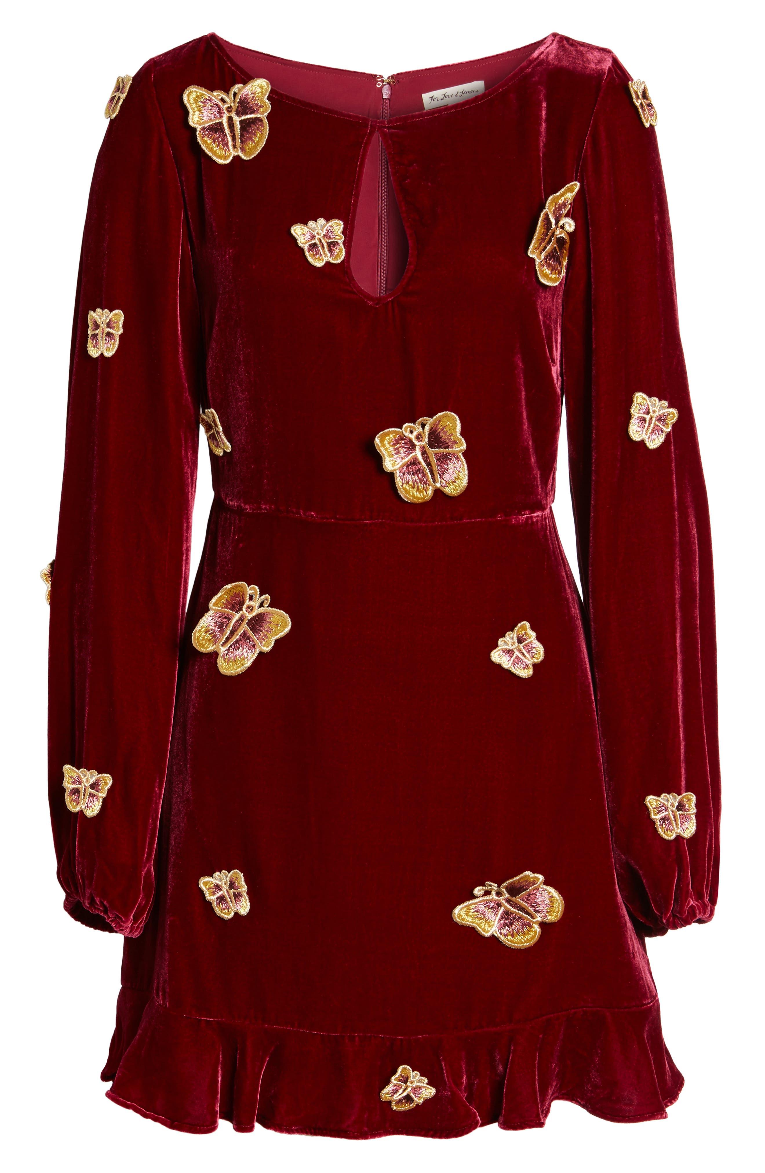 Papillon Appliqué Velvet Swing Dress,                             Alternate thumbnail 6, color,                             930