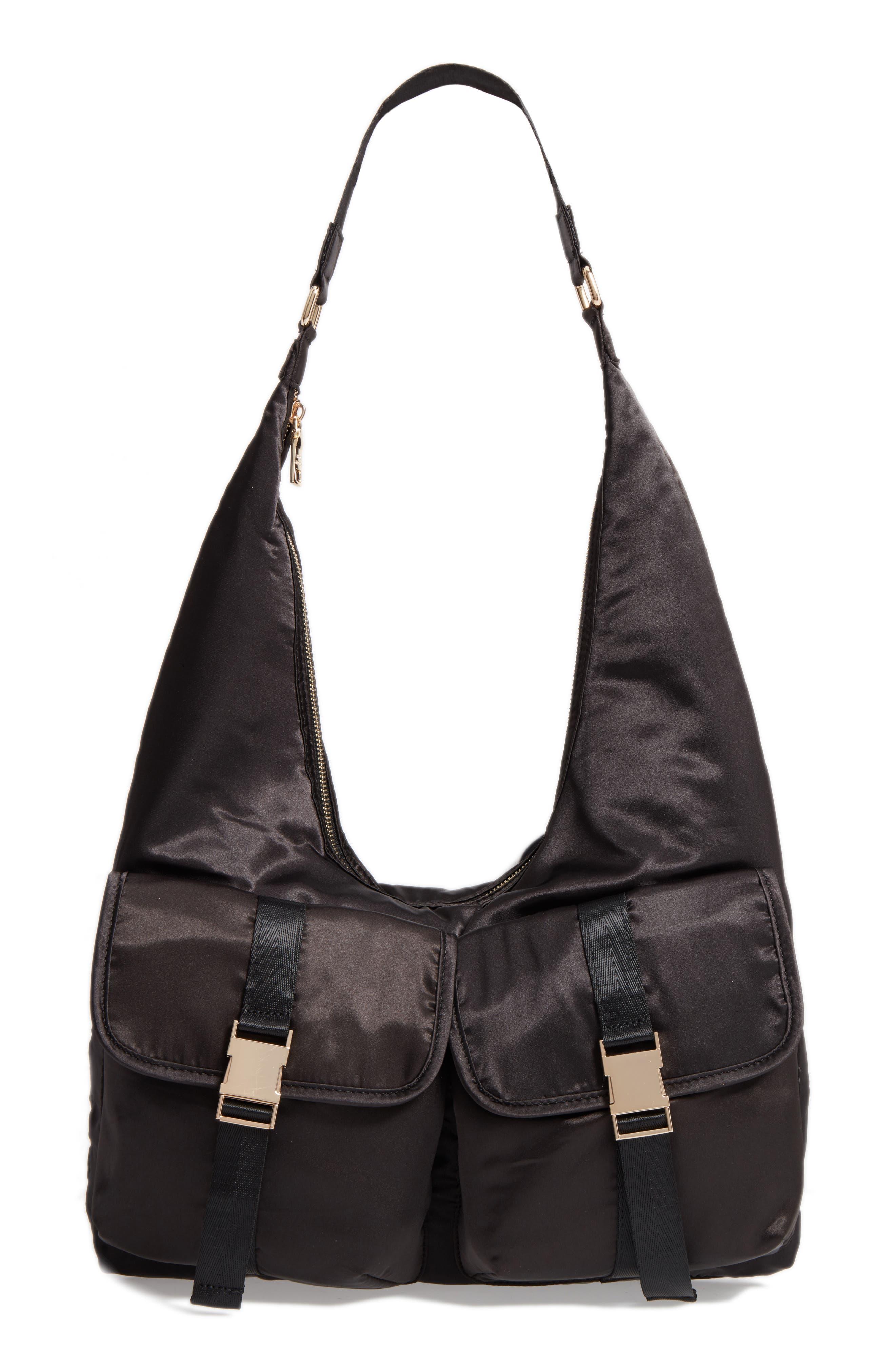 Satin Hobo Bag,                         Main,                         color, 001