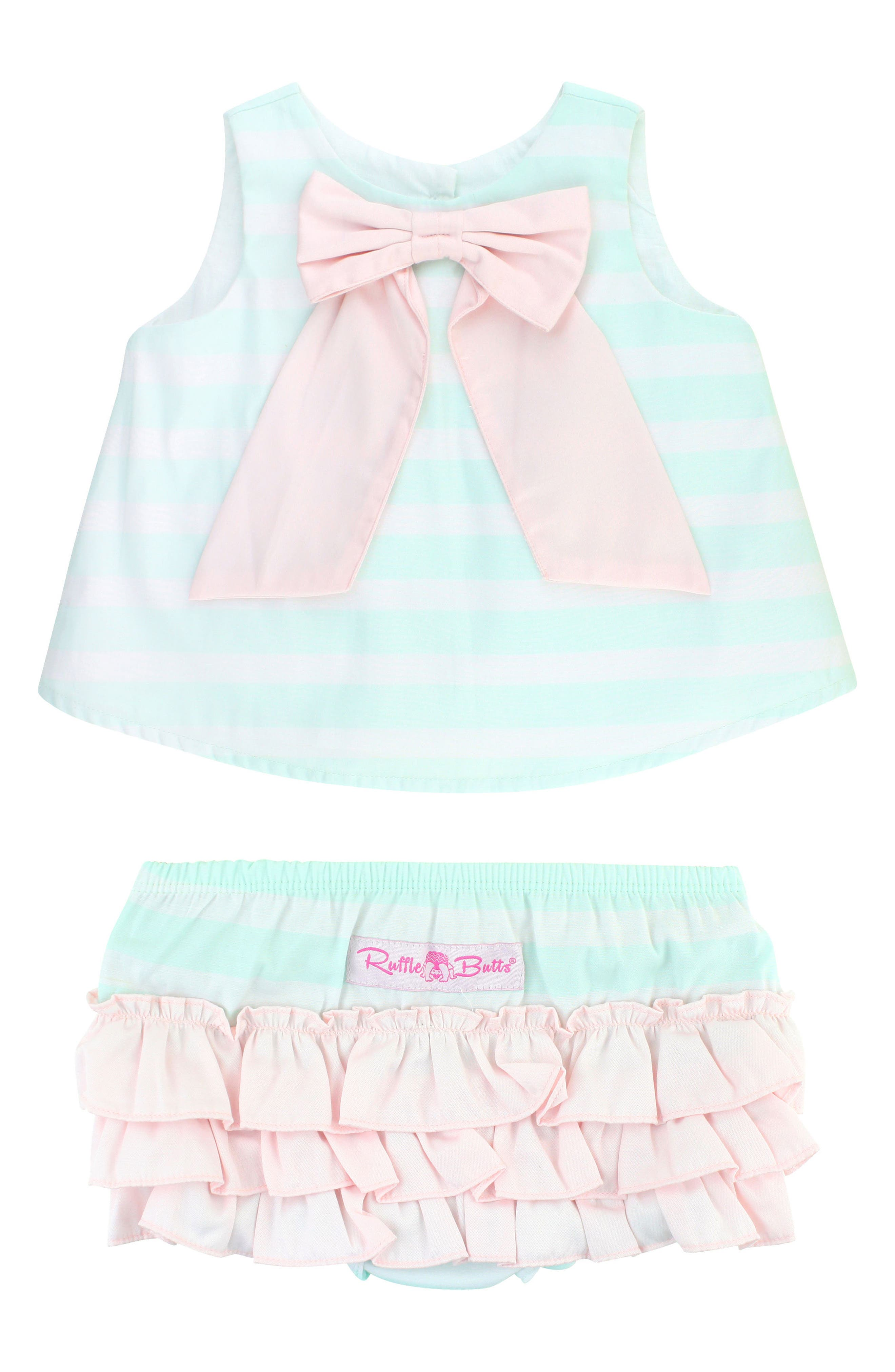 Stripe Swing Top & Bloomers Set,                             Main thumbnail 1, color,                             AQUA
