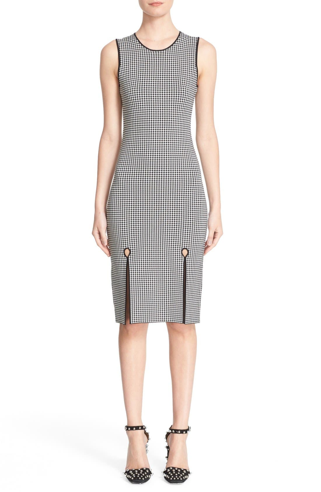 Houndstooth Front Slit Sheath Dress,                             Main thumbnail 1, color,                             005