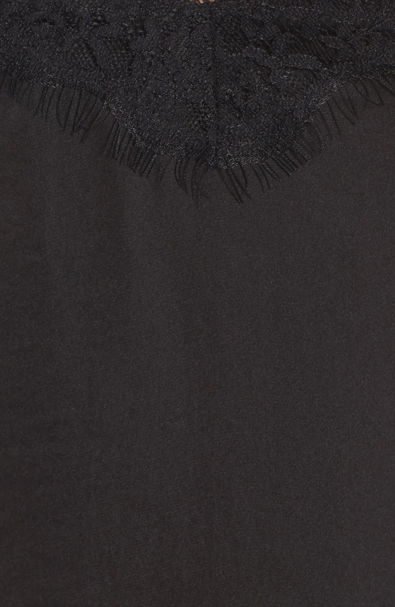 Lace Trim Satin Camisole,                             Alternate thumbnail 6, color,                             BLACK