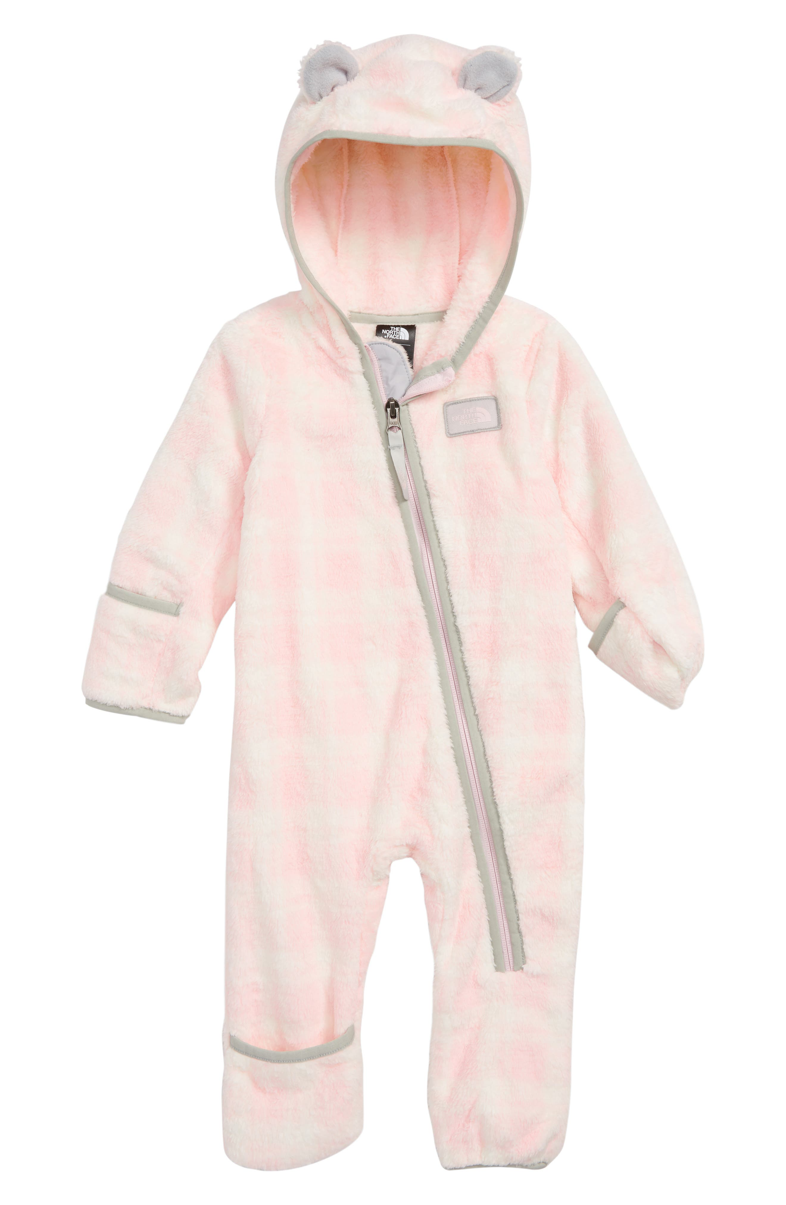 Campshire High Pile Fleece Romper,                         Main,                         color, PURDY PINK/ PRETTY PLAID PRINT