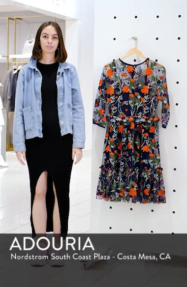 Embroidered Mesh Fit & Flare Dress, sales video thumbnail