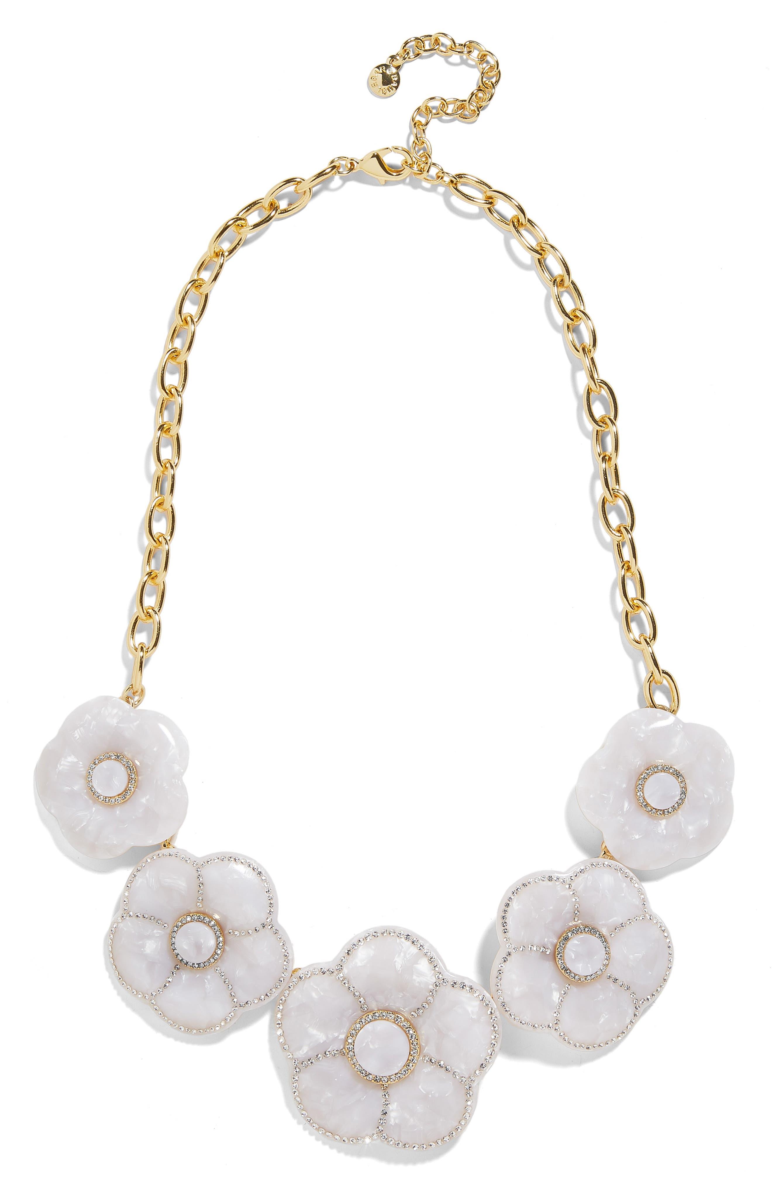 Madelaina Resin Flower Necklace, Main, color, WHITE