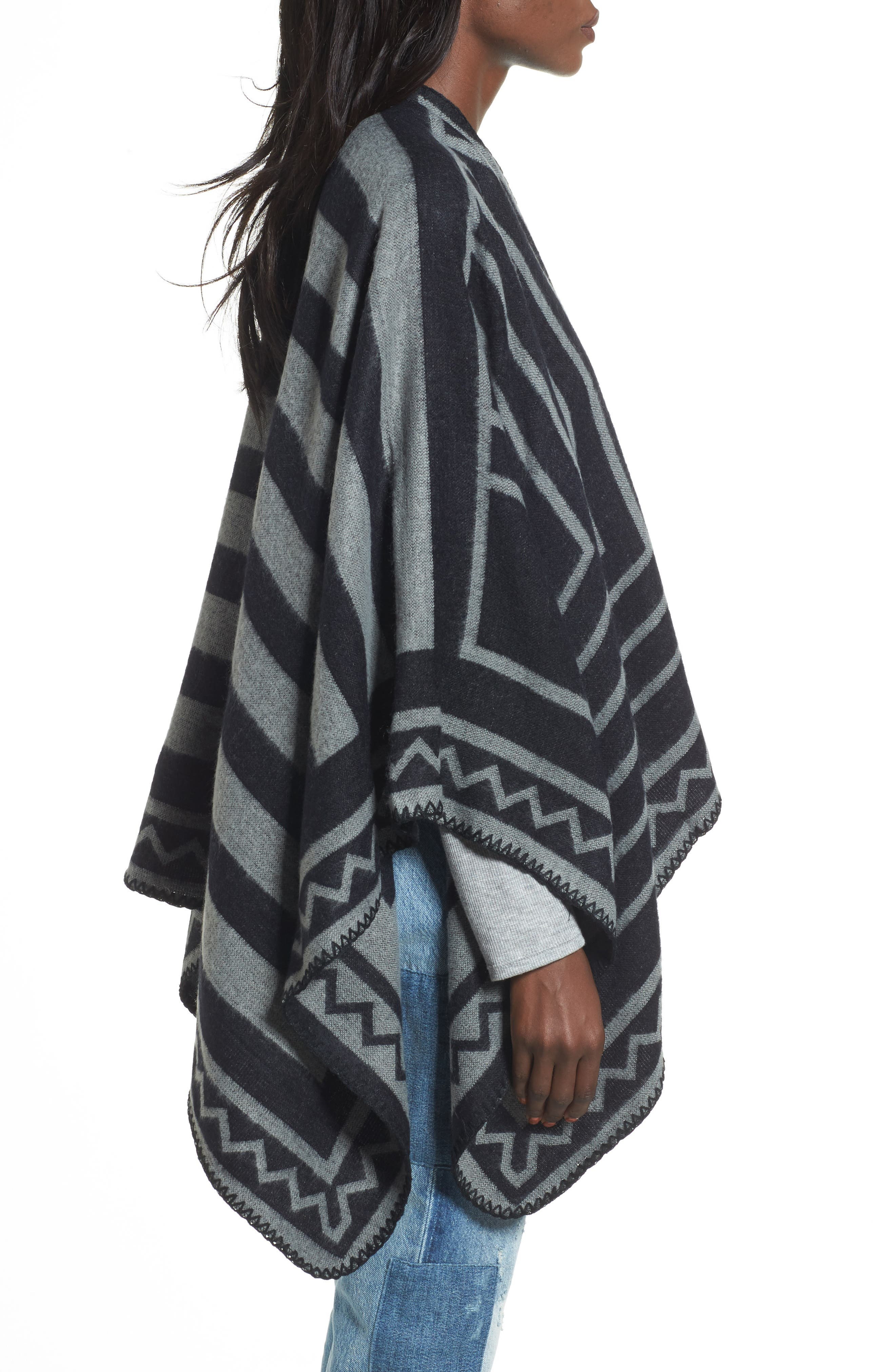 Accessories Collective Grid Print Ruana,                             Alternate thumbnail 3, color,                             001