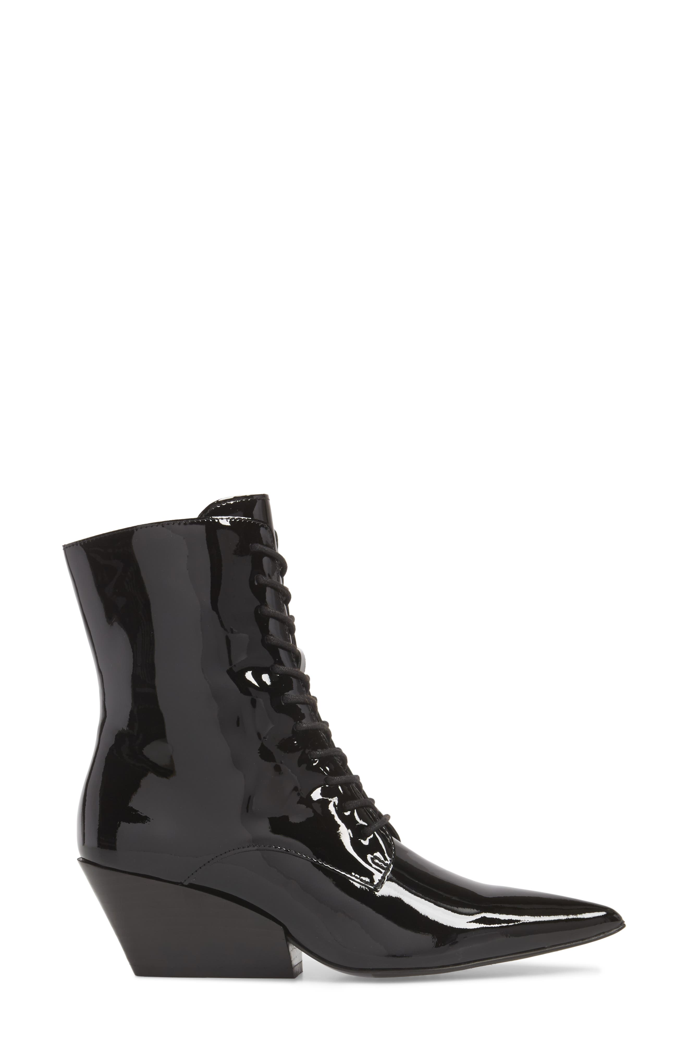 Faith Pointy Toe Laced Bootie,                             Alternate thumbnail 3, color,                             BLACK PATENT