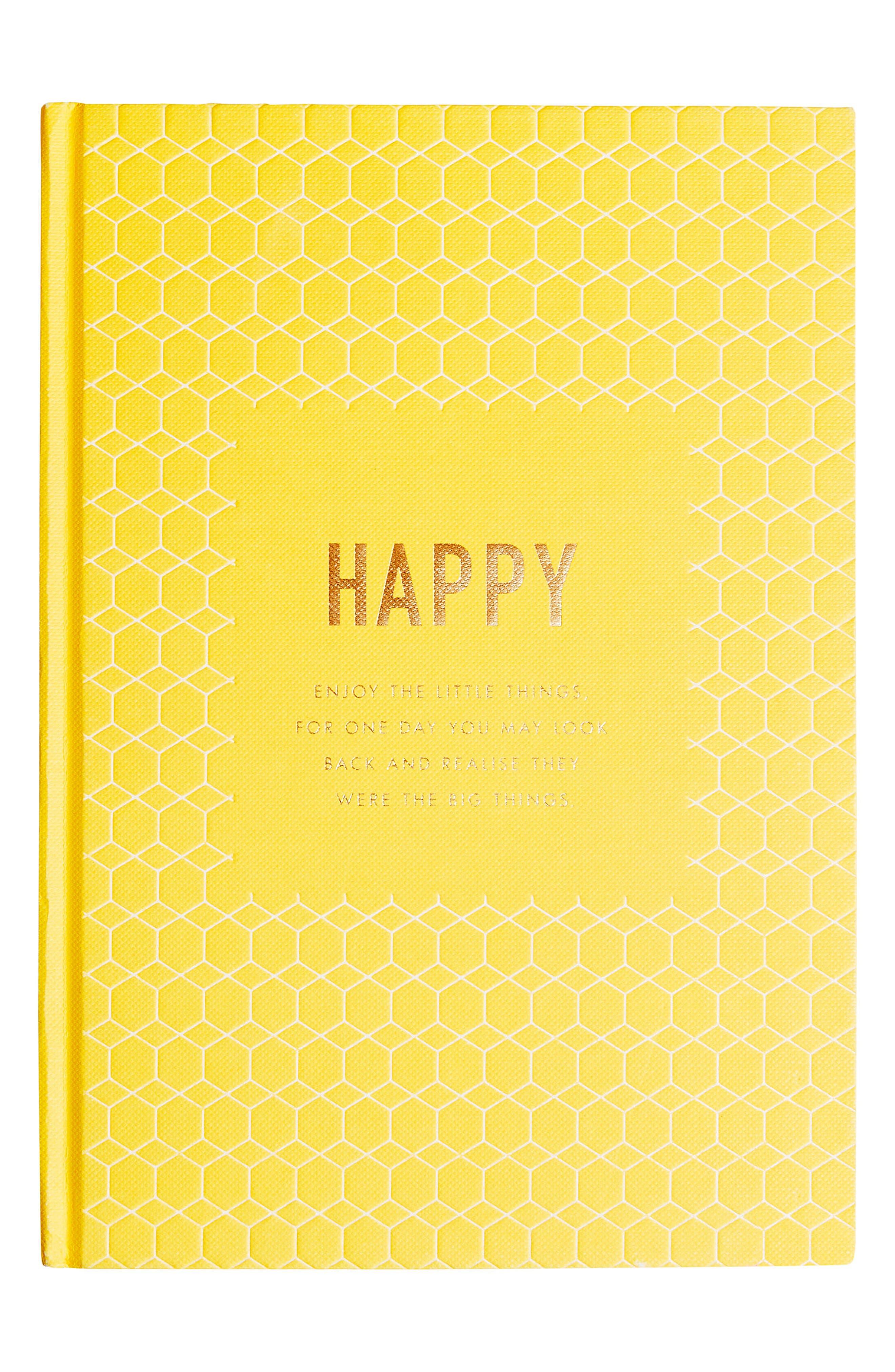 Happiness Journal,                             Main thumbnail 1, color,                             YELLOW