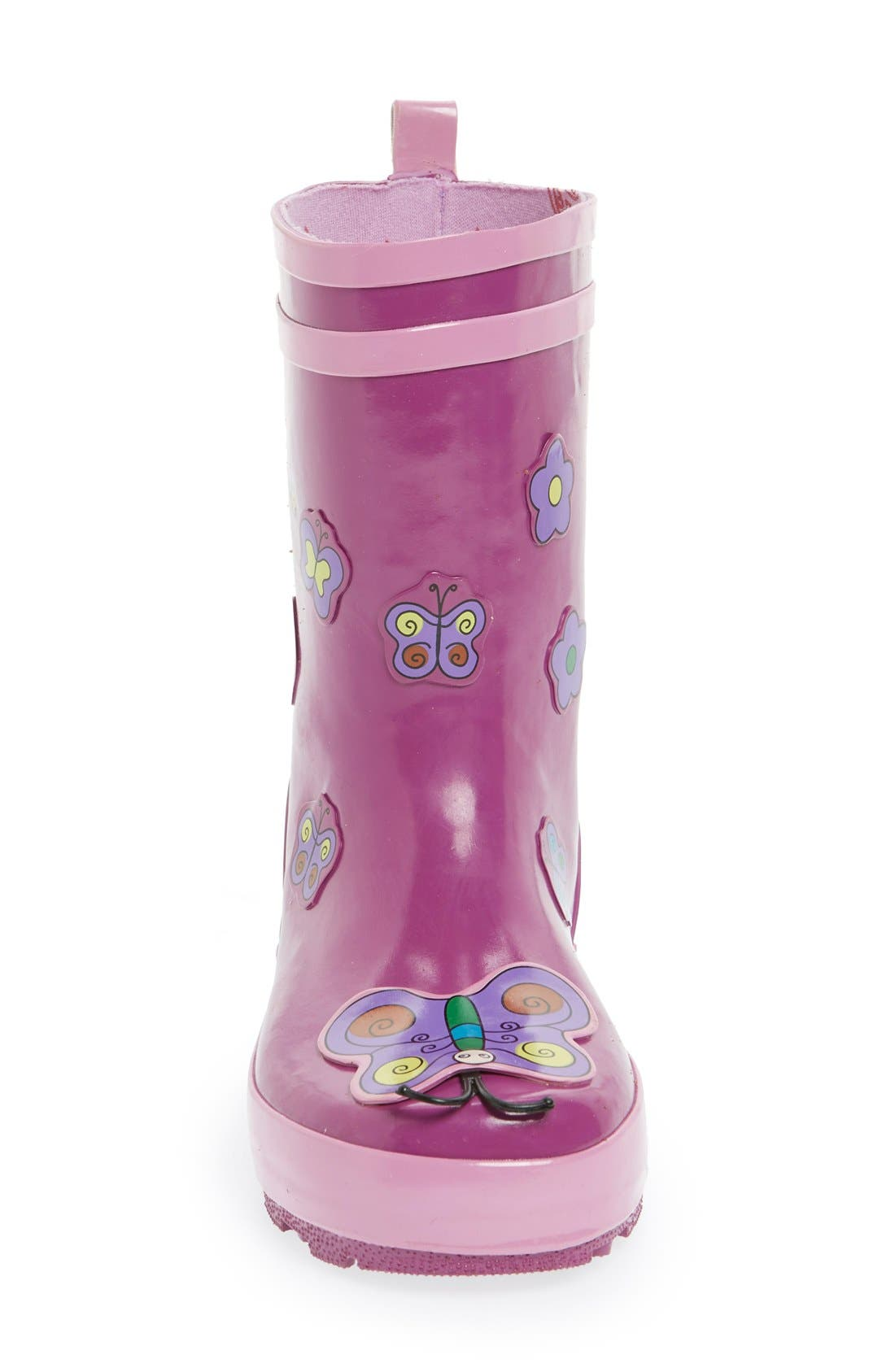 'Butterfly' Waterproof Rain Boot,                             Alternate thumbnail 3, color,                             500