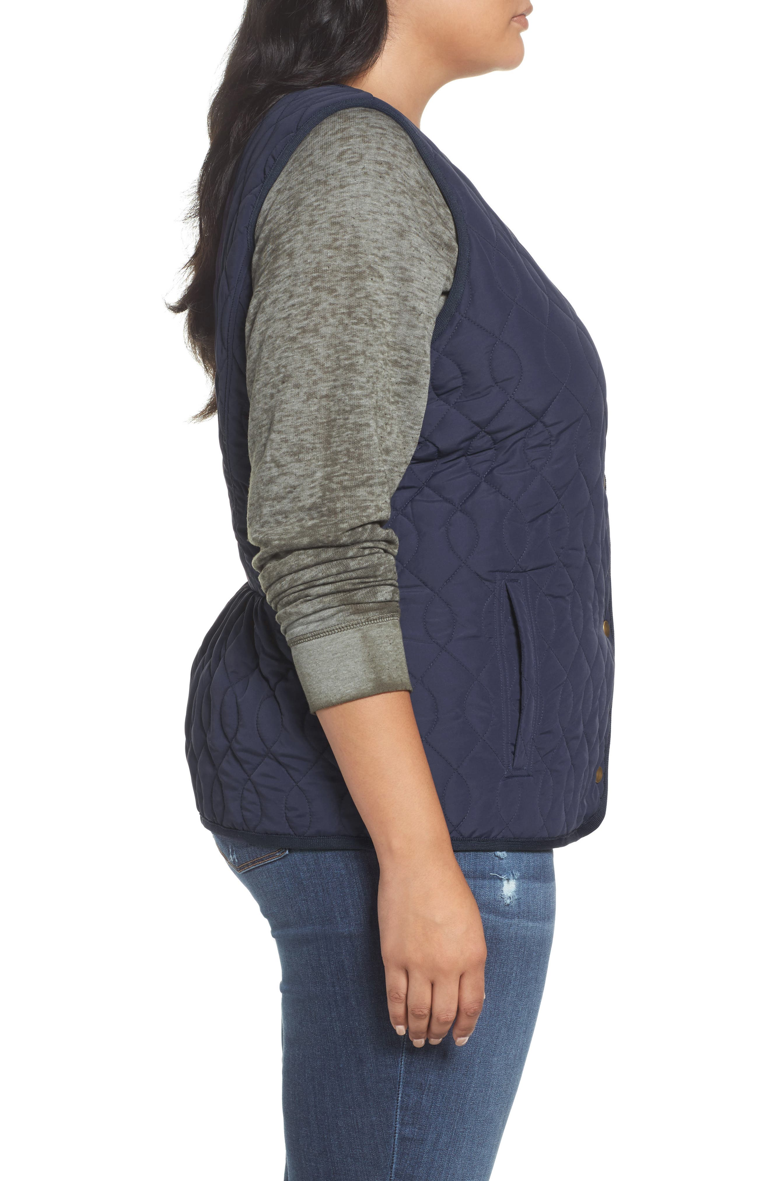 Collarless Quilted Vest,                             Alternate thumbnail 3, color,