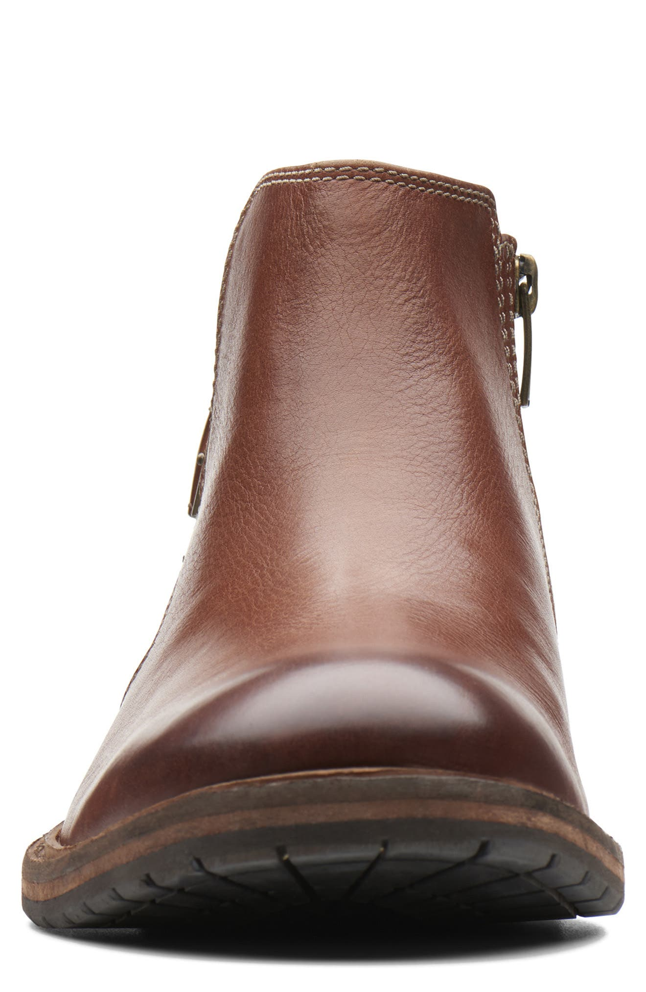 Clarkdale Remi Ankle Boot,                             Alternate thumbnail 3, color,                             DARK TAN LEATHER