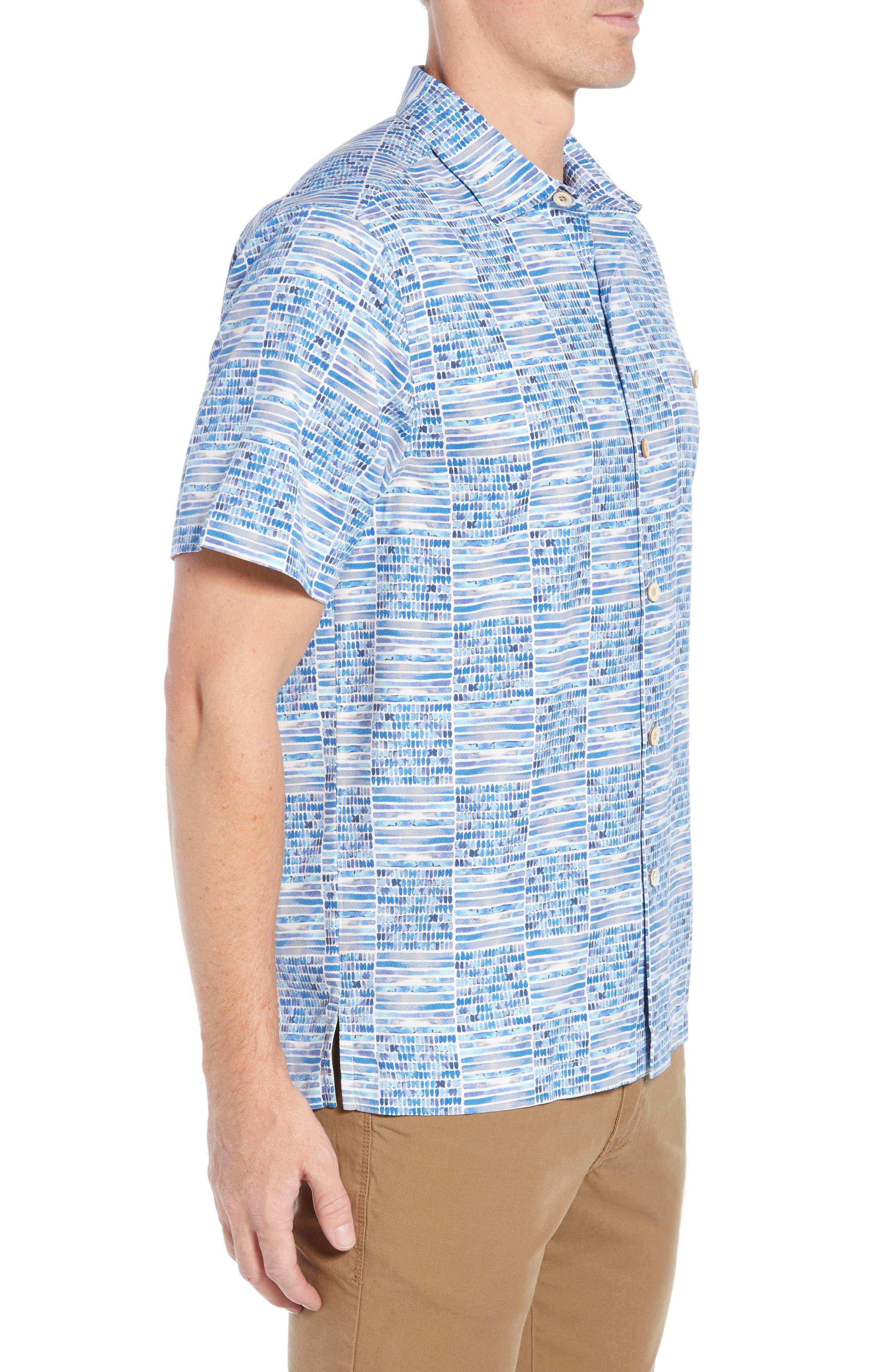 Rio Geo Short Sleeve Silk Blend Sport Shirt,                             Alternate thumbnail 4, color,                             AQUA ICE
