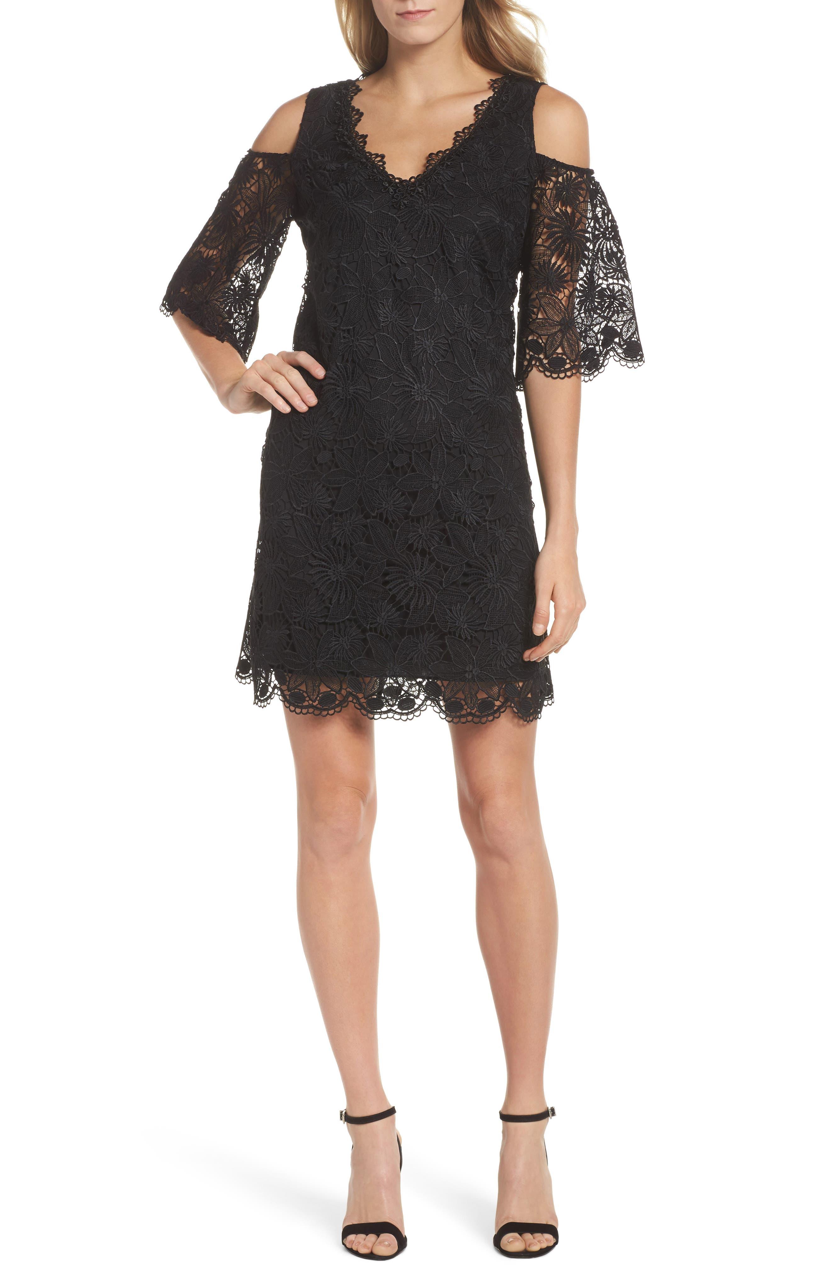 Edna Cold Shoulder Lace Dress,                             Main thumbnail 1, color,                             001