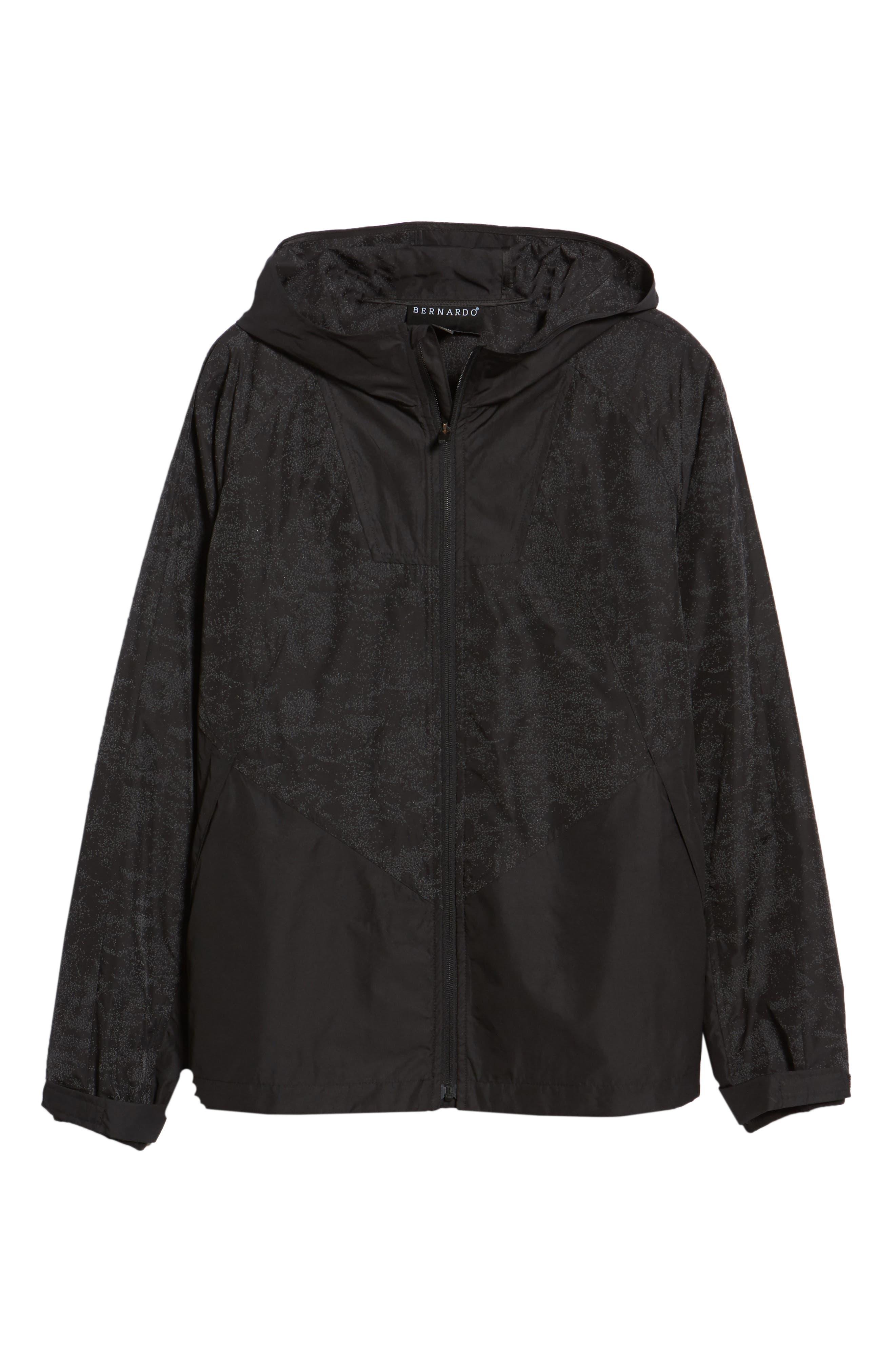 Hooded Reflective Jacket,                             Alternate thumbnail 6, color,                             BLACK REFLECTIVE
