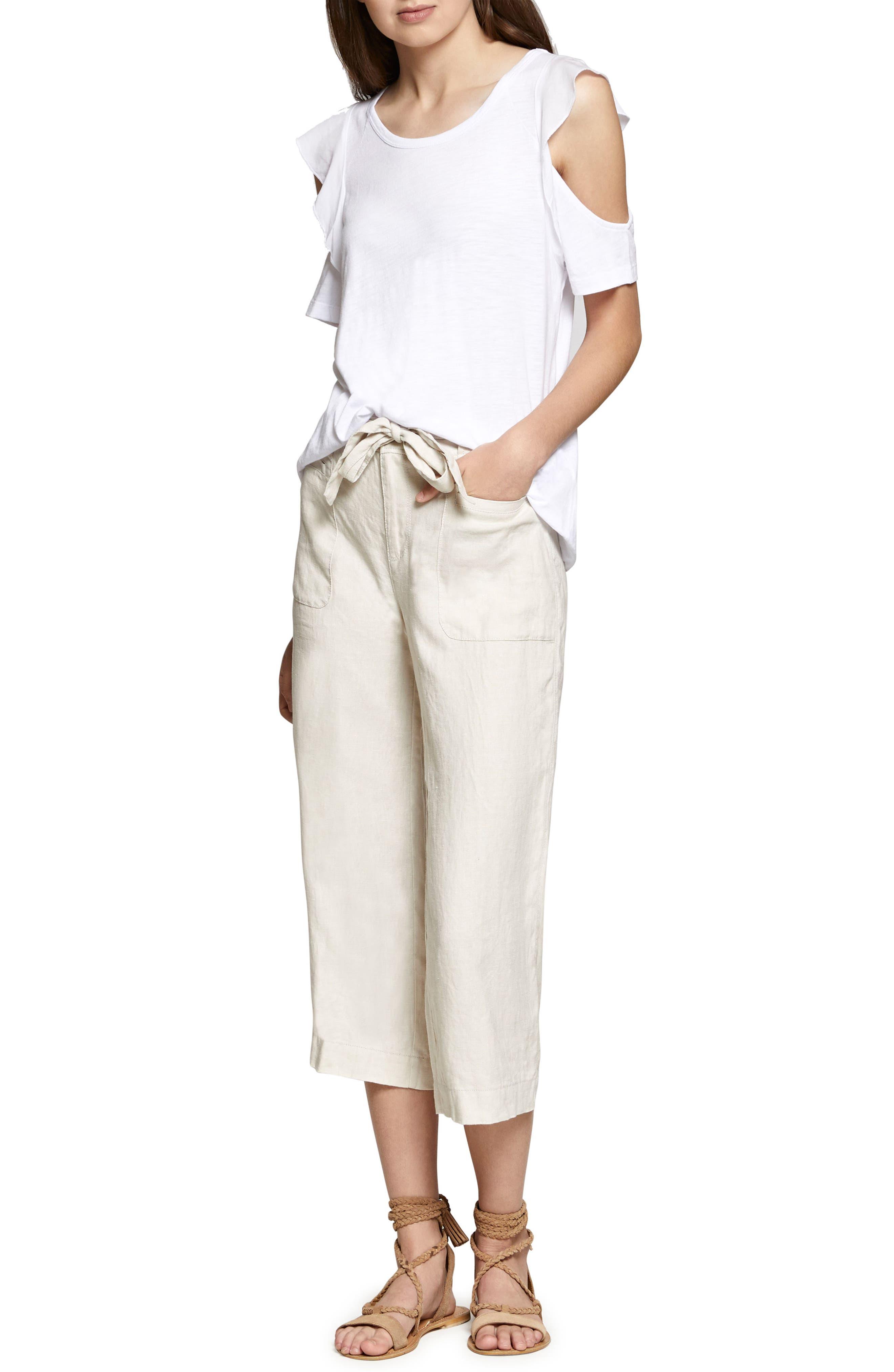 Terrain Linen Crop Cargo Pants,                             Main thumbnail 4, color,